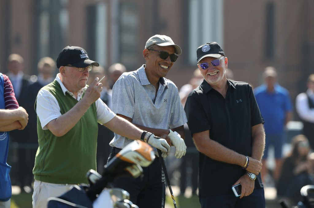 Obama and Sir Tom Hunter (right) as they prepare to tee off (Andrew Milligan/PA Wire)