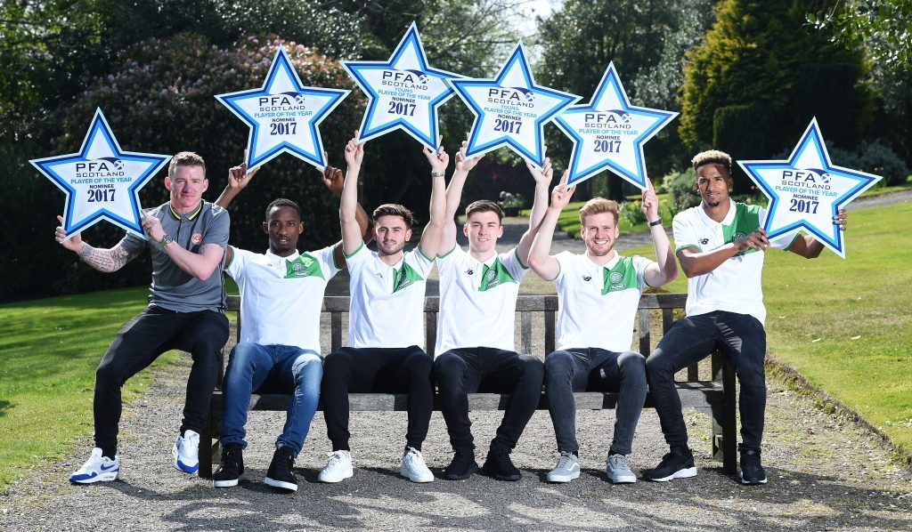 PFA Scotland Premiership Player of the Year and Player of the Year Nominees Jonny Hayes, Moussa Dembele, Patrick Roberts, Kieran Tierney, Stuart Armstrong and Scott Sinclair (SNS Group / Craig Williamson)