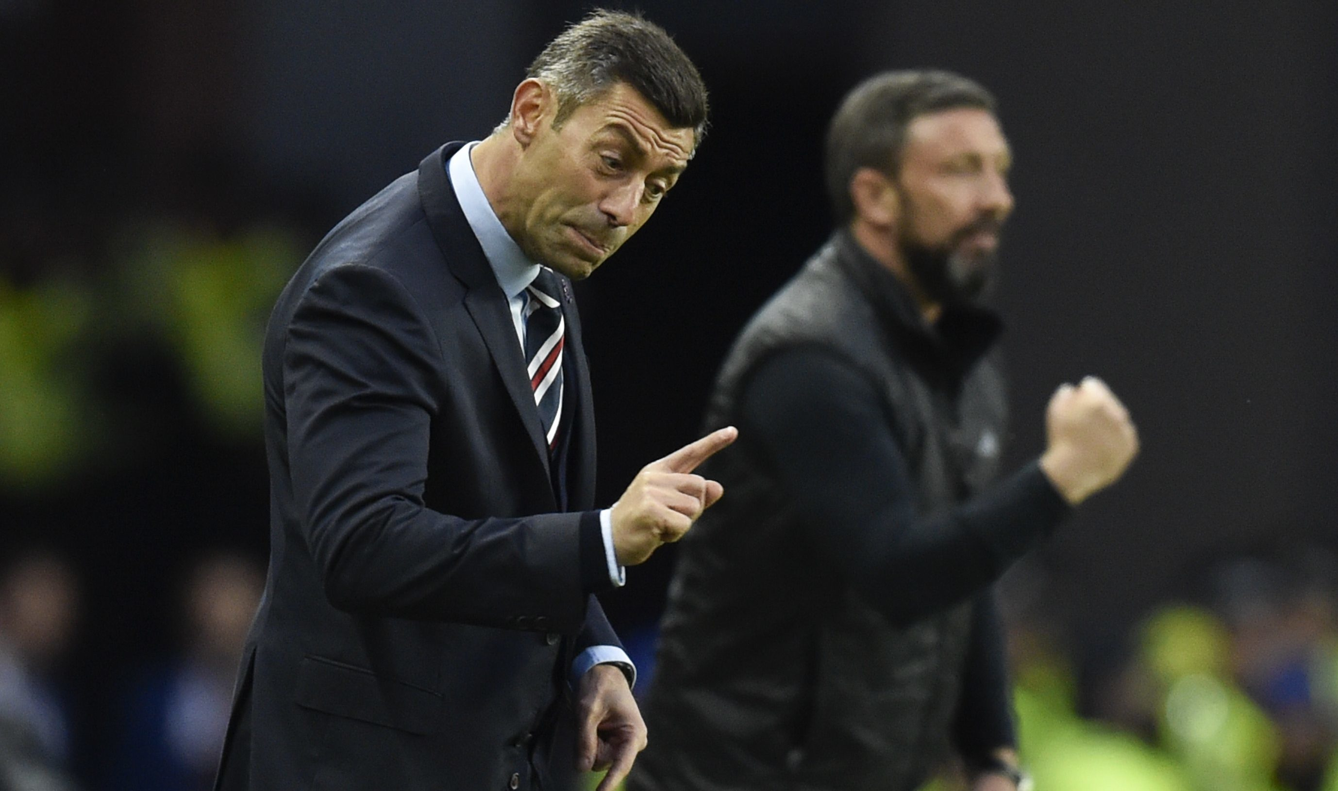 Pedro Caixinha and Derek McInnes on the touchline (SNS Group / Rob Casey)