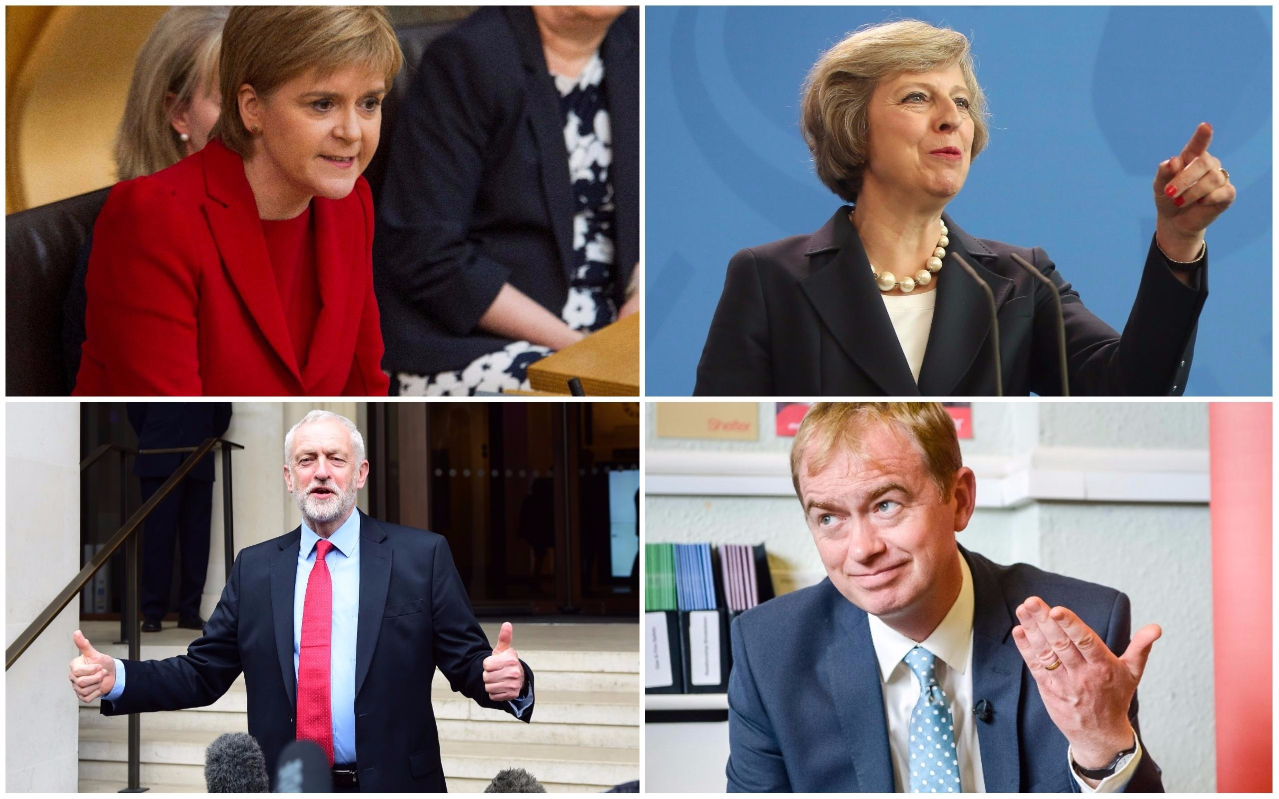 Theresa May (Adam Berry/Getty Images), Nicola Sturgeon (SWNS), Labour leader Jeremy Corbyn (PA), Leader of the Liberal Democrats Tim Farron (PA)