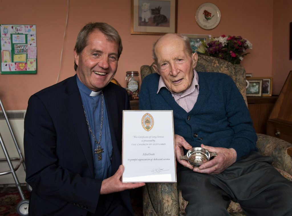 Alfred meets the Moderator of the Church of Scotland, Rt Rev Russell Barr (PA /Andrew O'Brien)