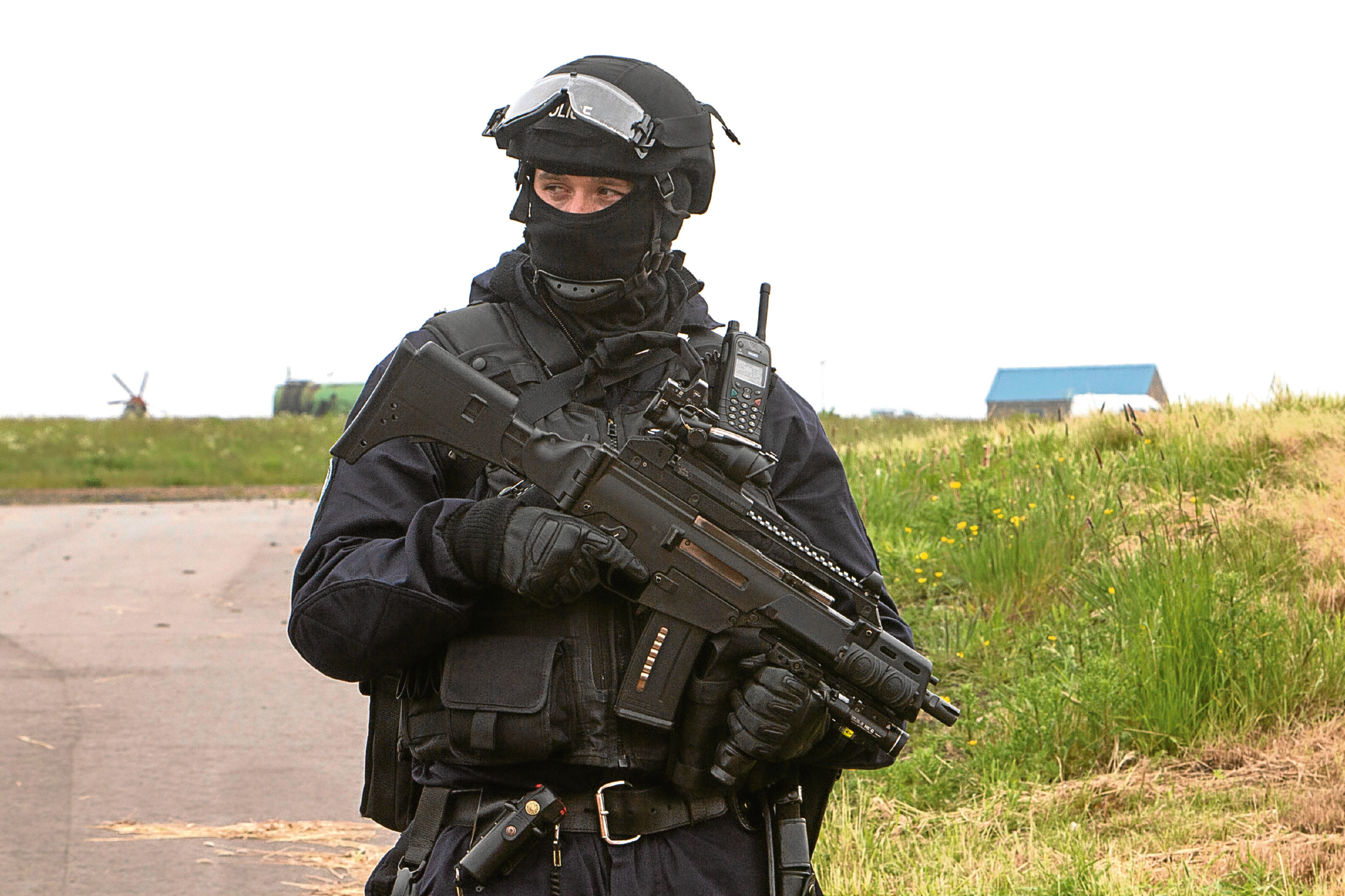 Armed police were positioned inside the airport boundaries and accompanied the nuclear material from Dounreay to Wick (Robert Macdonald/Northern Studios)