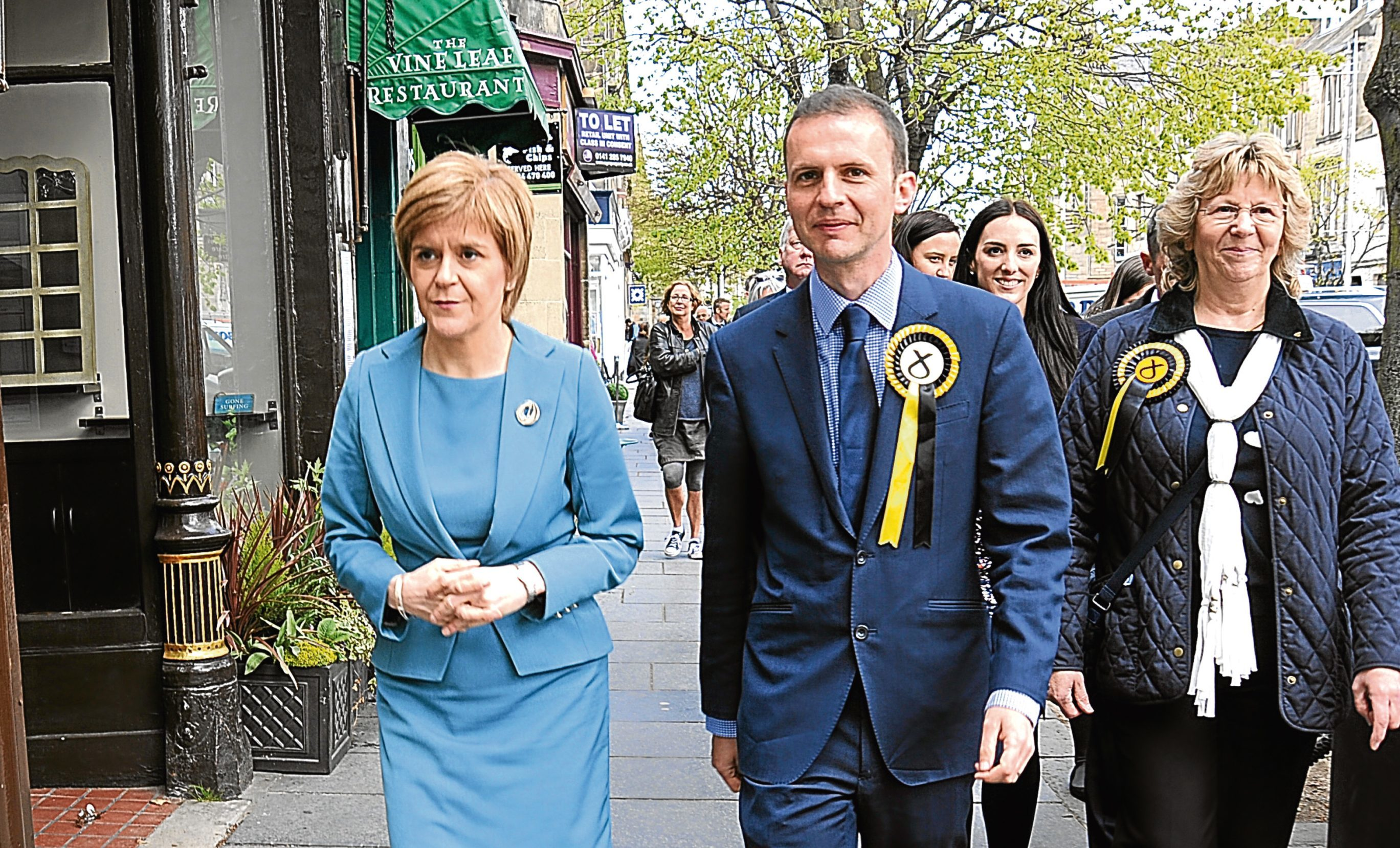 Scotlands first minister Nicola Sturgeon in St Andrews with Candidate Stephen Gethins. 1 May 15