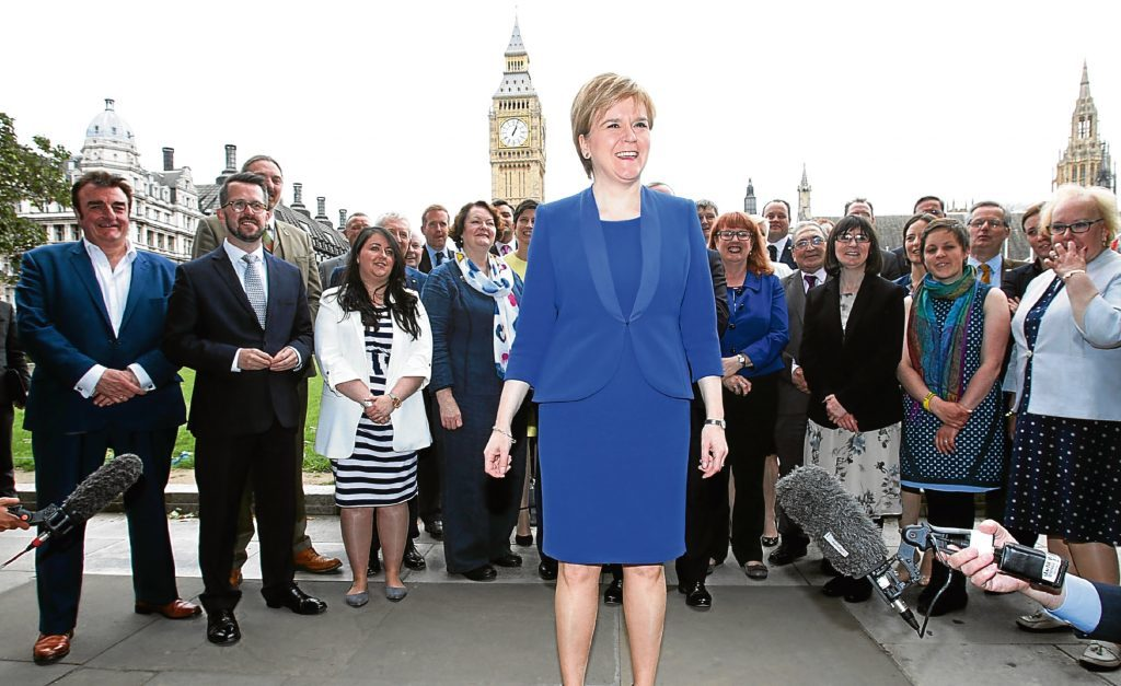 First Minister Nicola Sturgeon welcomes new SNP MPs to Westminster (Yui Mok/PA Wire)