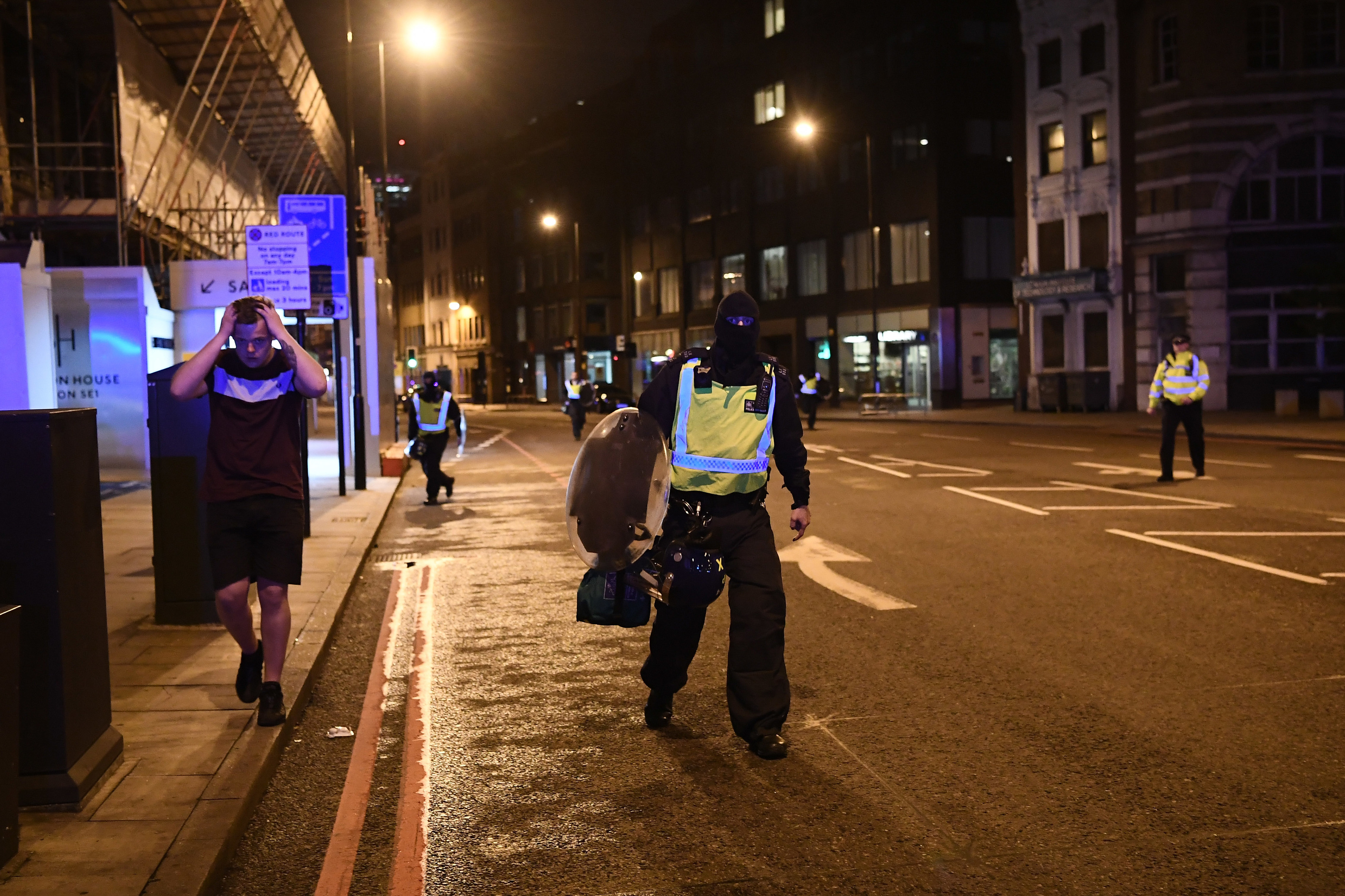 Police officers clear the area near Borough market, London (Carl Court/Getty Images)