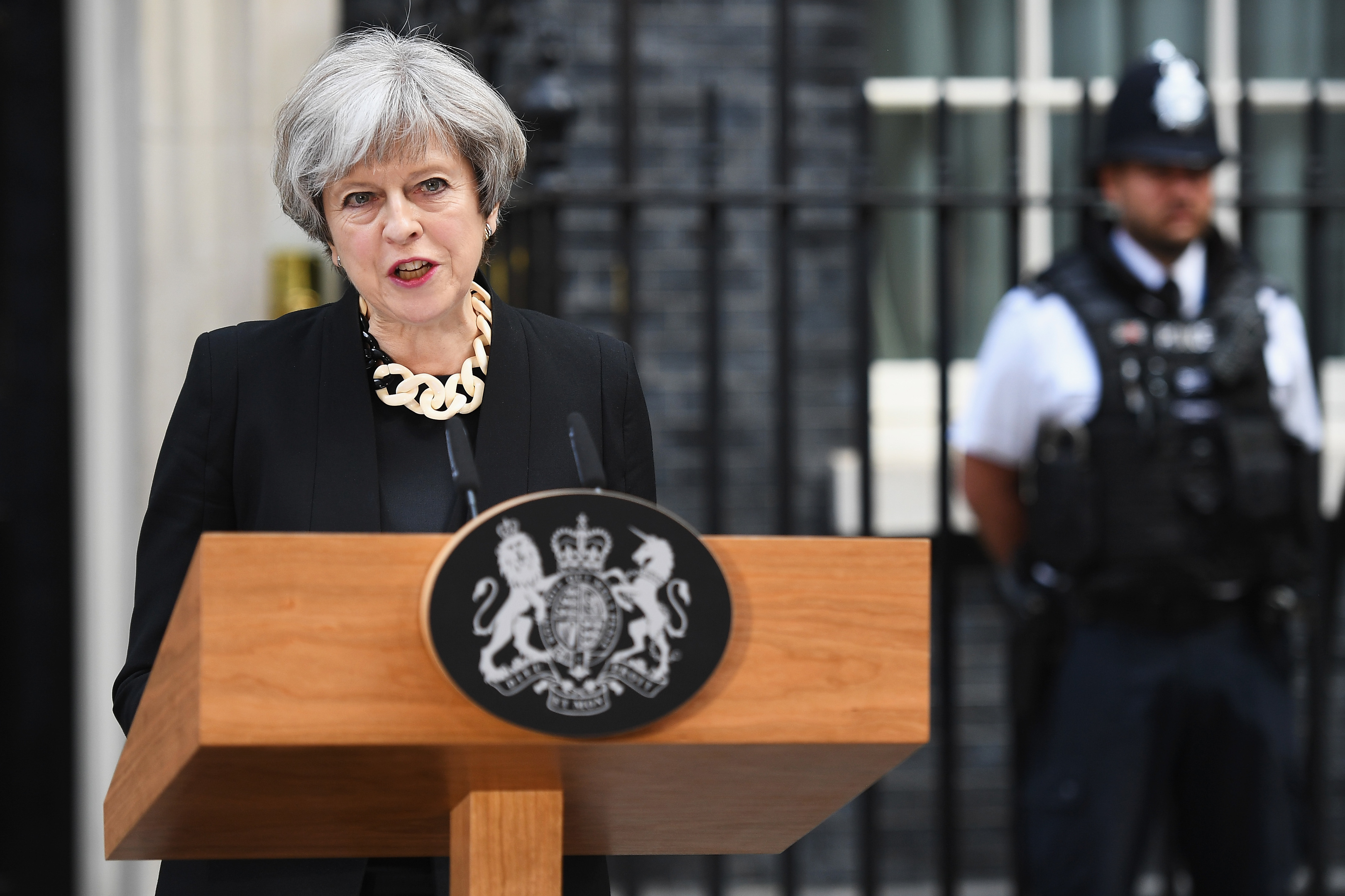 Britain's Prime Minister Theresa May addresses the media as she makes a statement, following a COBRA meeting in response to last night's London terror attack (Leon Neal/Getty Images)