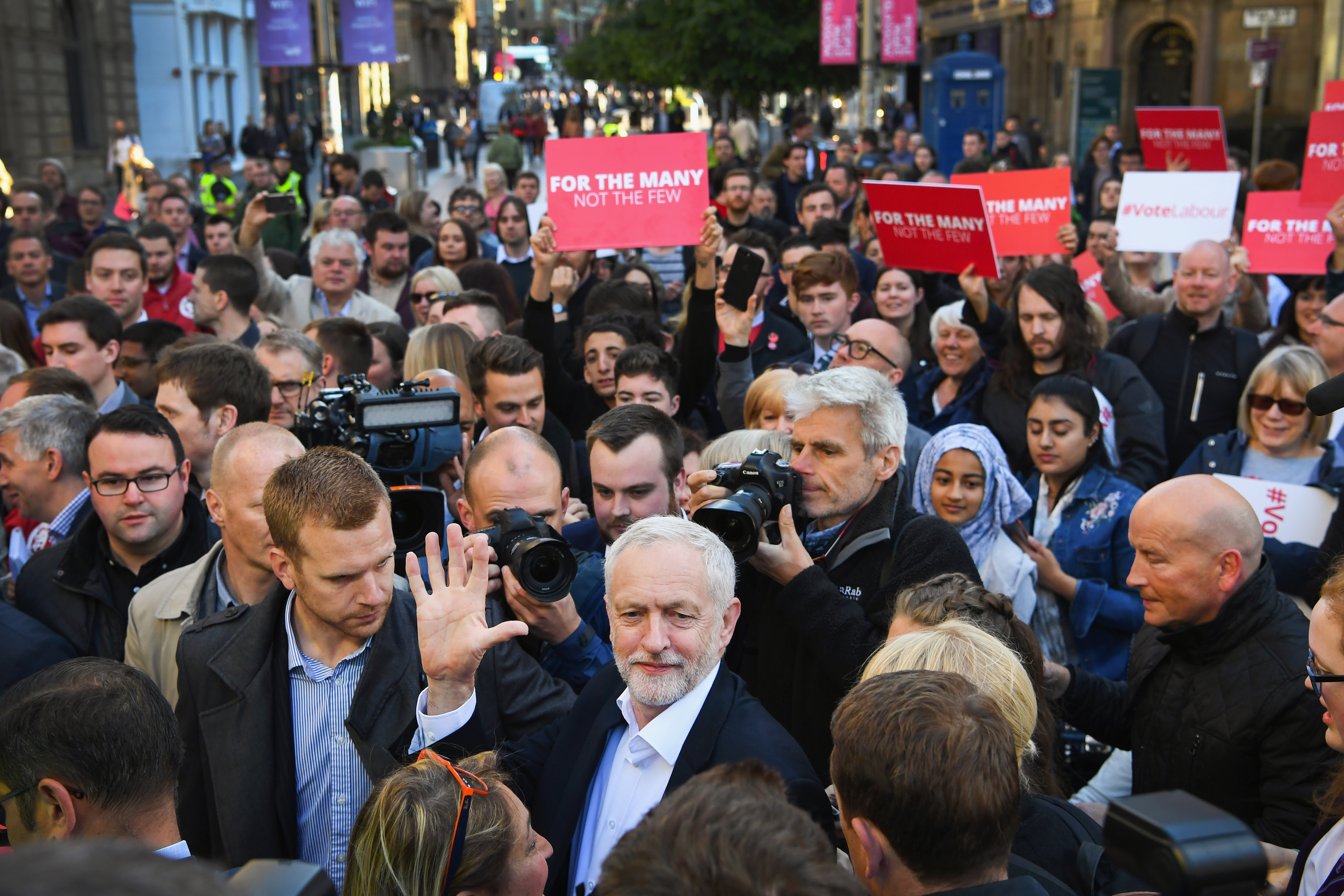 Jeremy Corbyn, Leader of the Labour Party, speaks to activists during a campaign rally on Buchanan Street in Glasgow. The Labour leader is holding six rallies across Scotland (Jeff J Mitchell/Getty Images)
