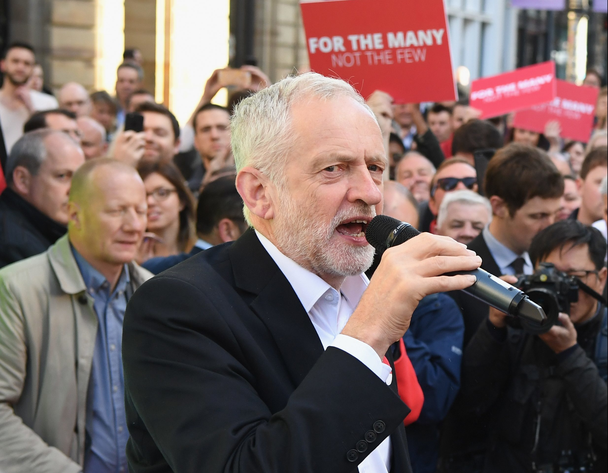 Jeremy Corbyn, Leader of the Labour Party, speaks to activists during a campaign rally on Buchanan Street Glasgow. (Jeff J Mitchell/Getty Images)