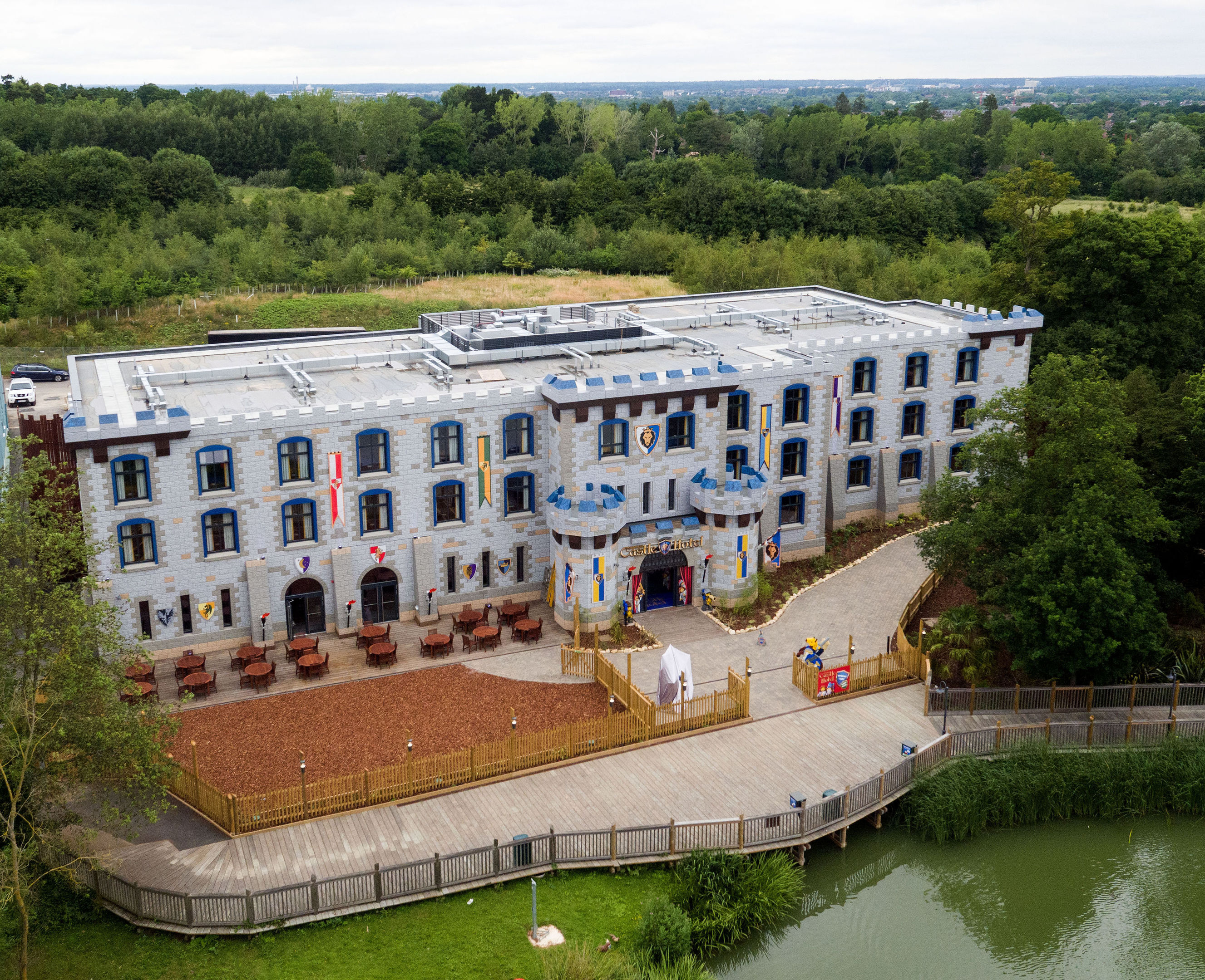 An aerial image of the new LEGOLAND Castle Hotel (Steve Parsons/PA Wire)
