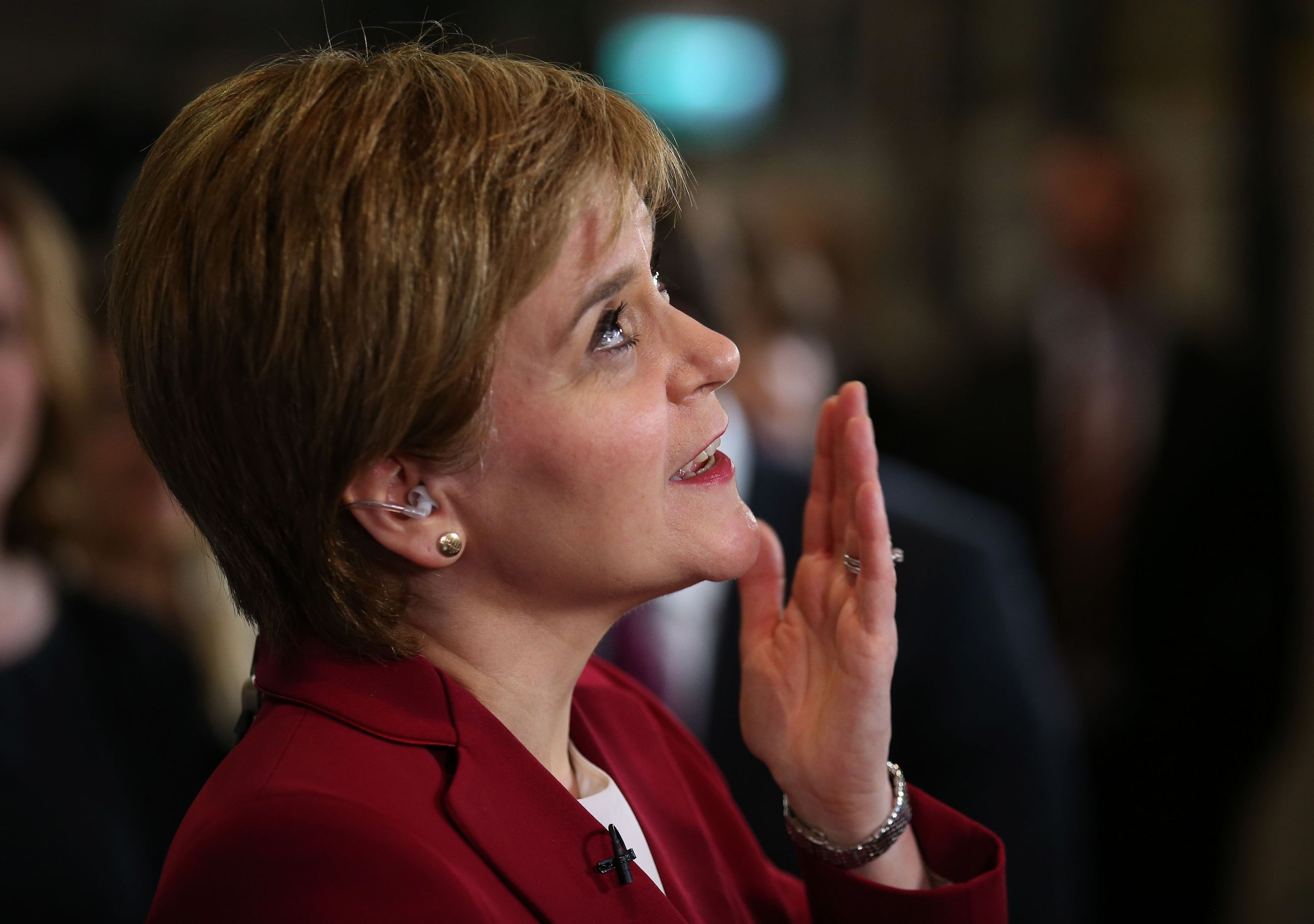 First Minister Nicola Sturgeon speaks to the media at the Emirates Arena in Glasgow (Andrew Milligan/PA Wire)