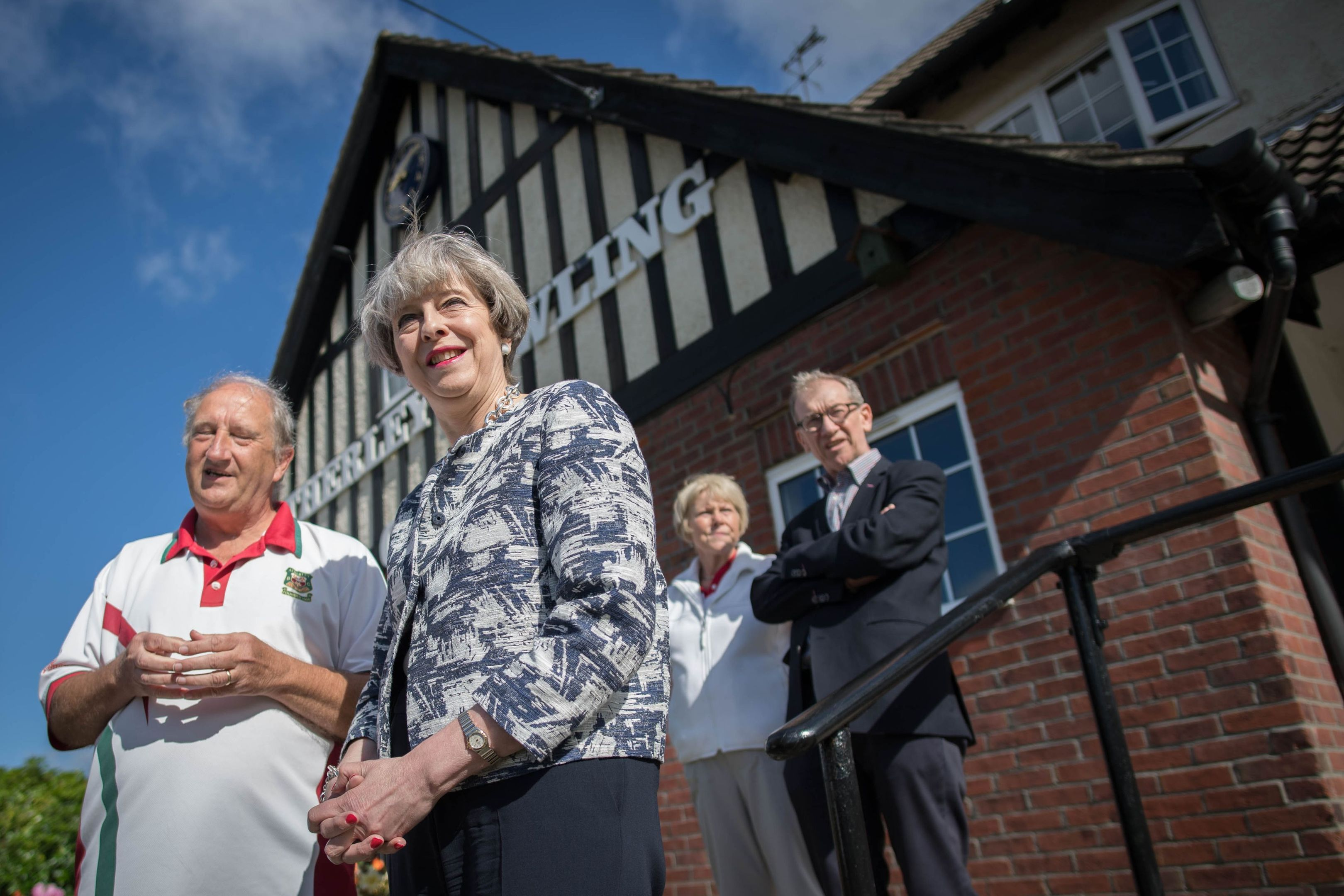 Prime Minister Theresa May (front right) visits Atherley Bowling Club in Southampton, with her husband Philip (back right) while on the General Election campaign trail. (Stefan Rousseau/PA Wire)