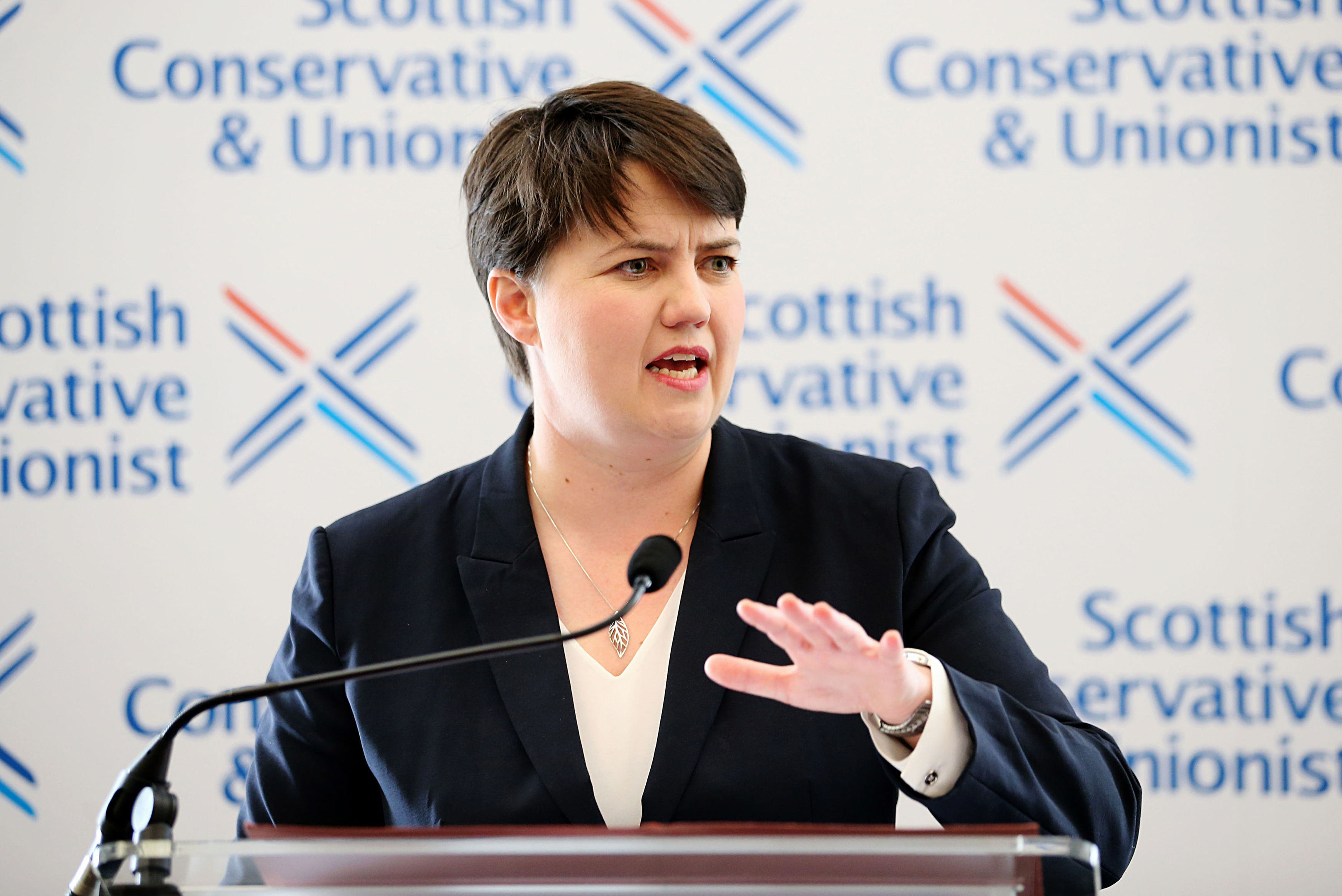 Scottish Conservative leader Ruth Davidson during a press conference at the Apex Waterloo Hotel in Edinburgh. (Jane Barlow/PA Wire)