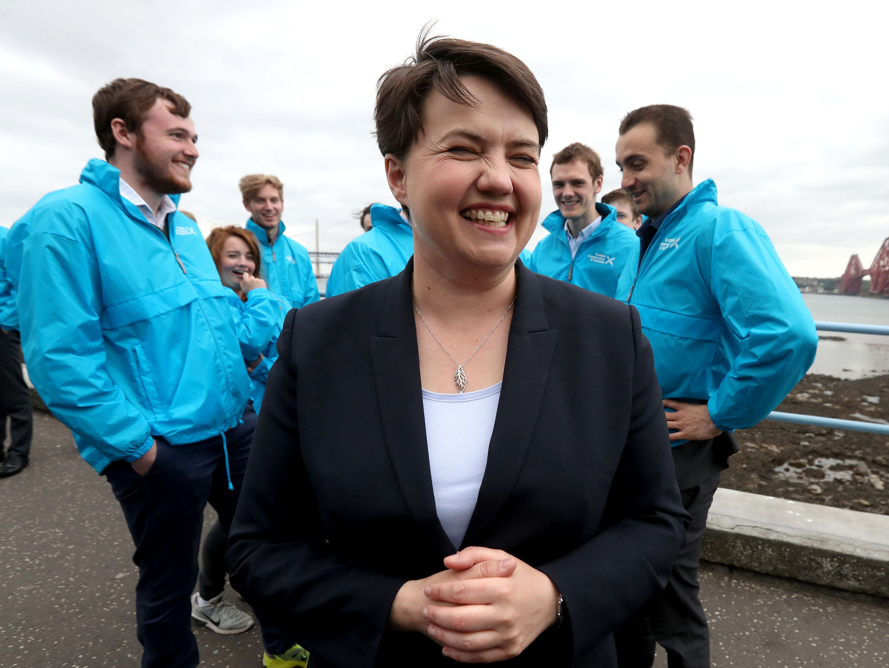 Scottish Conservative leader Ruth Davidson with supporters in South Queensferry in front of the Forth Rail Bridge whilst on the General Election campaign trail.(Andrew Milligan/PA Wire)