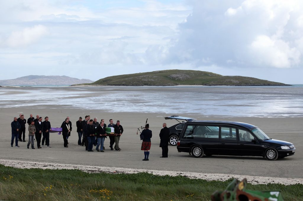 The body of the Manchester bomb victim was flown home to the devastated community on the island of Barra ahead of her funeral. (Andrew Milligan/PA Wire)