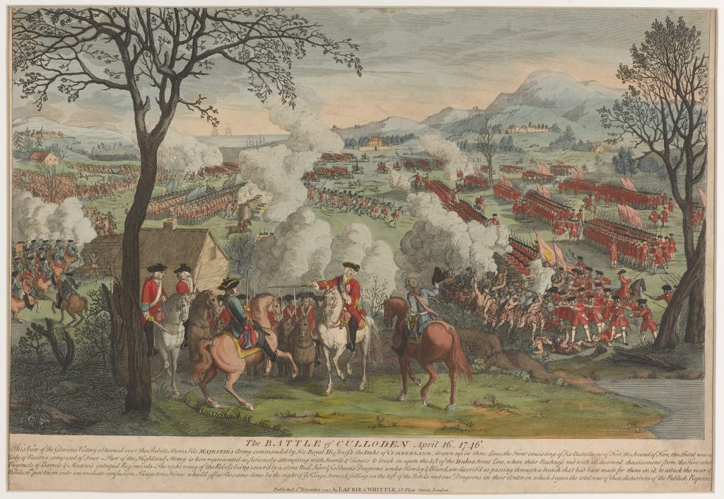 Framed, coloured print of the Battle of Culloden, published by Laurie and Whittle, 1797
