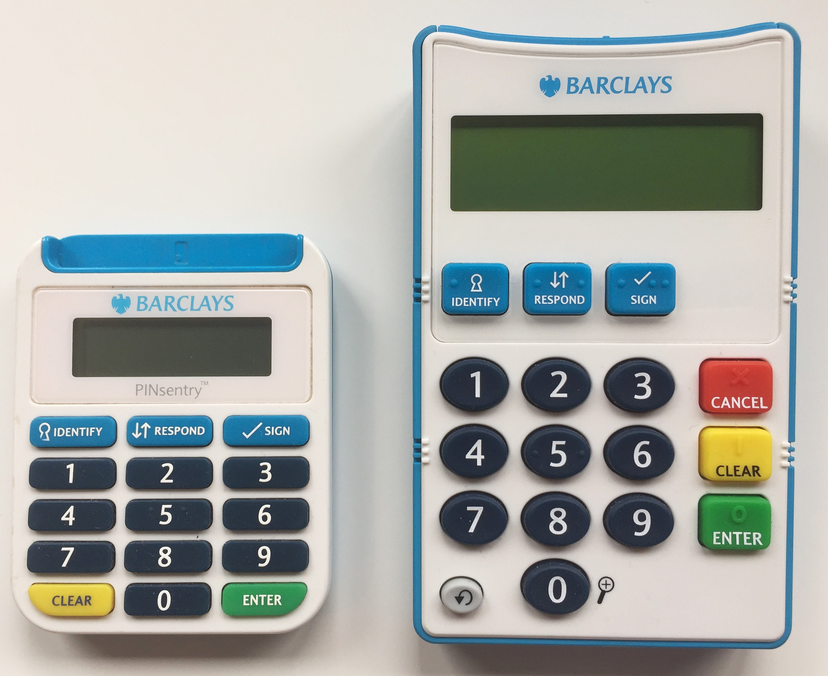 """A new talking card reader (right) with """"super-sized"""" features to help customers with sight and dexterity issues to access its services more easily. (Barclays/PA Wire)"""