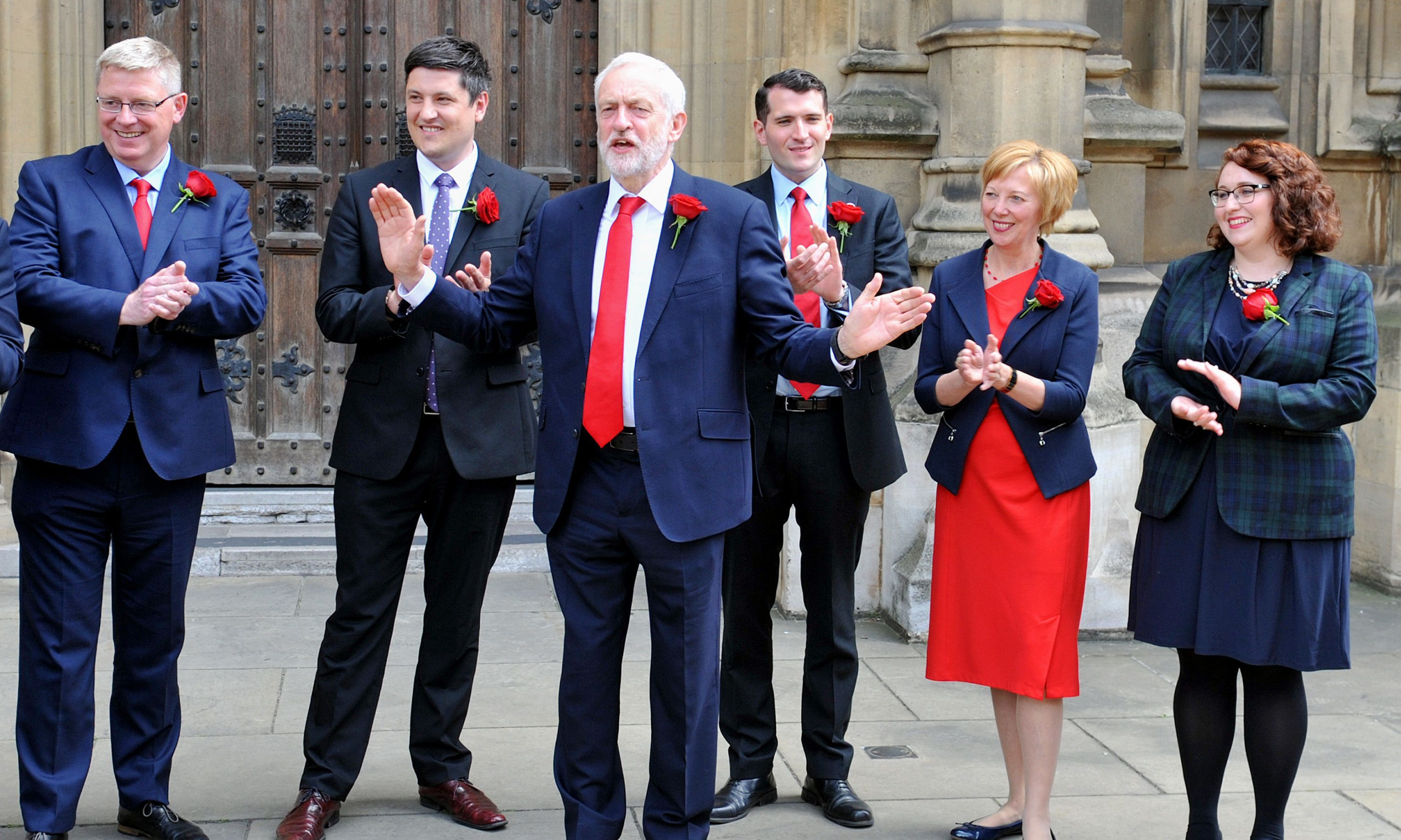 Labour leader Jeremy Corbyn welcomes Scottish Labour MPs (Nick Ansell/PA Wire)