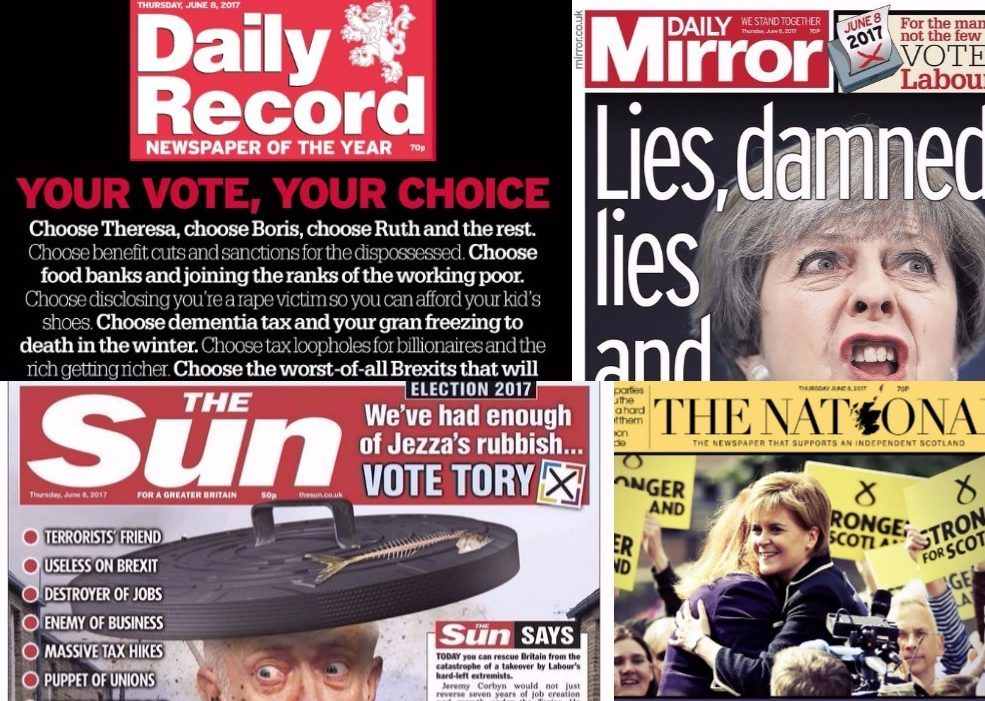 The Daily Record, Daily Mirror, The Sun and The National Front Pages on the morning of the General Election