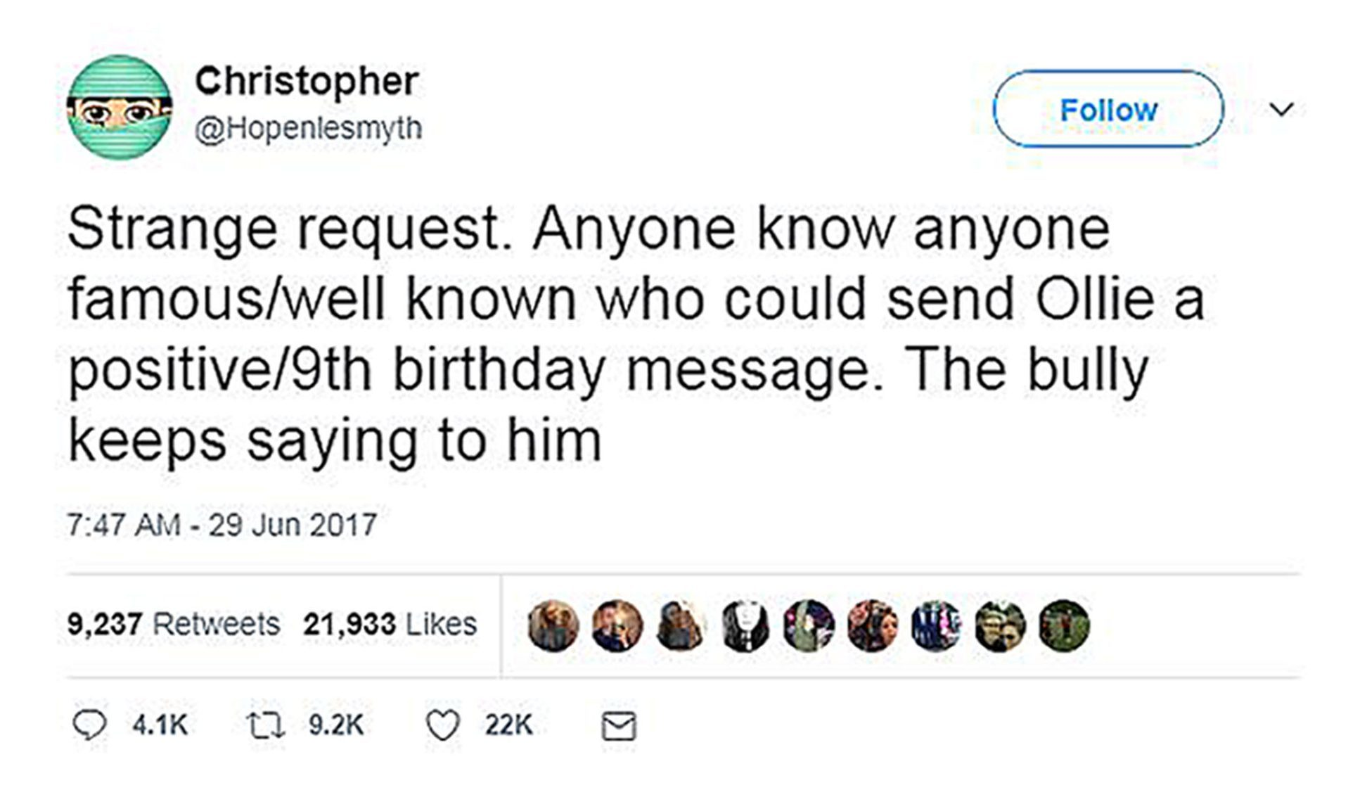 An appeal for birthday messages for Chris Hope-Smith's son Ollie who is being bullied which has gone viral (@Hopenlesmyth/Twitter/PA Wire)