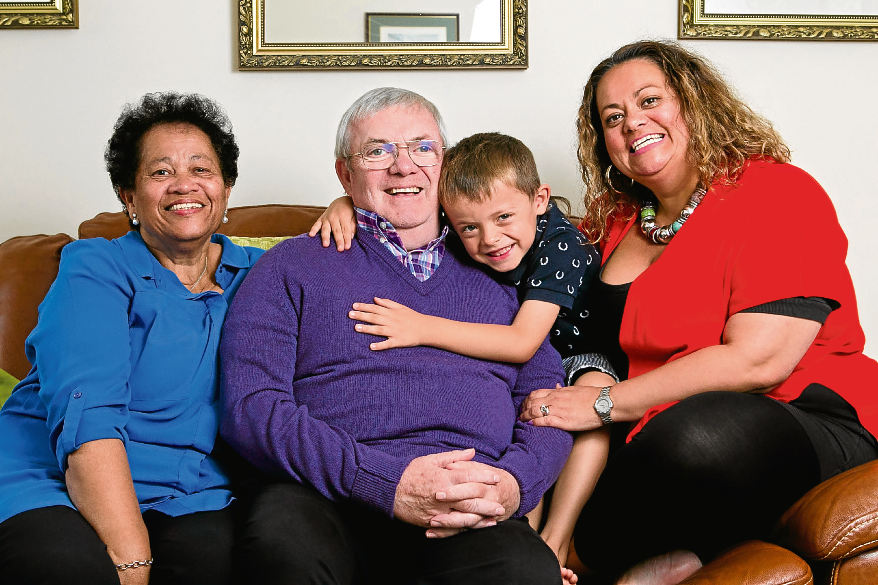 Natasha Collins, with her son Iggy, and parents, John and Jane. John has early on set Dementia, so Natasha decided to move into the flat below them to look after him (Andrew Cawley, Sunday Post)