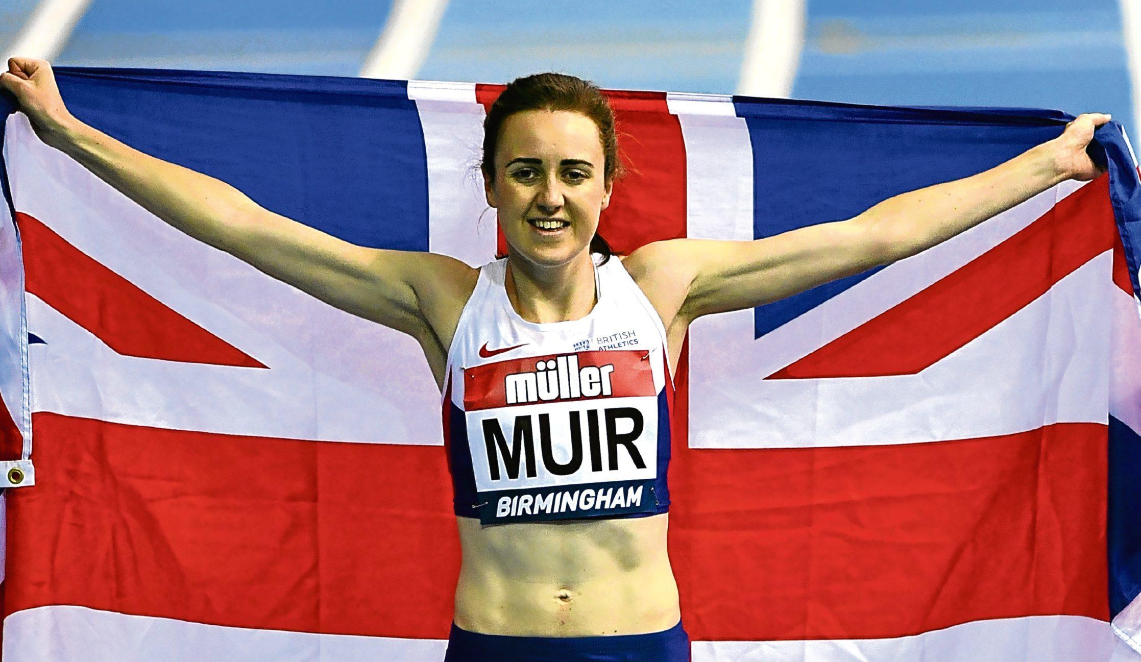 Laura Muir celebrates winning the women's 1000 metres final during the Muller Indoor Grand Prix 2017 (Dan Mullan/Getty Images)
