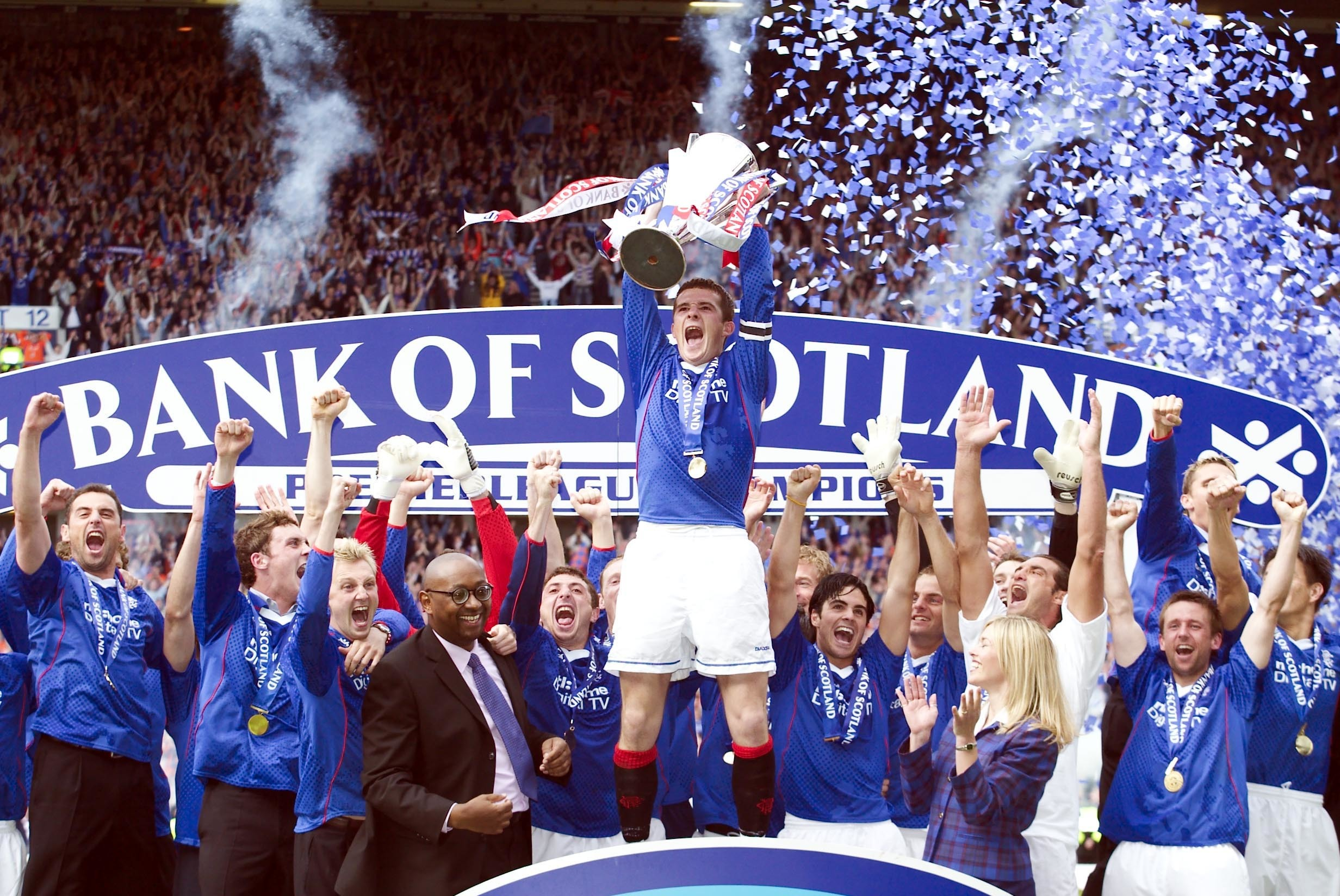 Rangers celebrate their 2003 title success when the EBTs at Ibrox were in full flow (SNS Group)