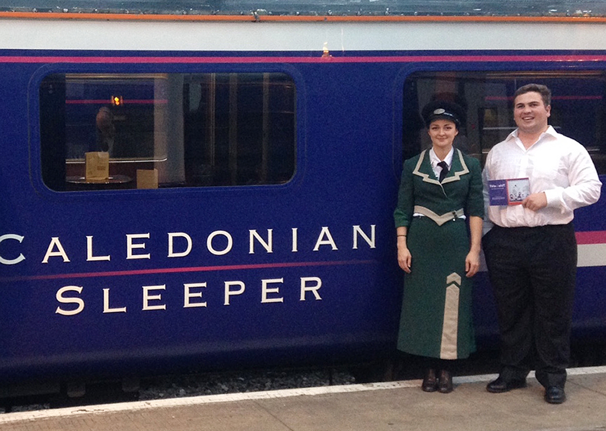 Robert Lewis and Zosia Jagodzinska before performing Belongings, an opera staged by Scotland's soundfestival and London's of Tete a Tete: The Opera Festival on the sleeper service between Aberdeen and London. (Belongings/PA Wire)