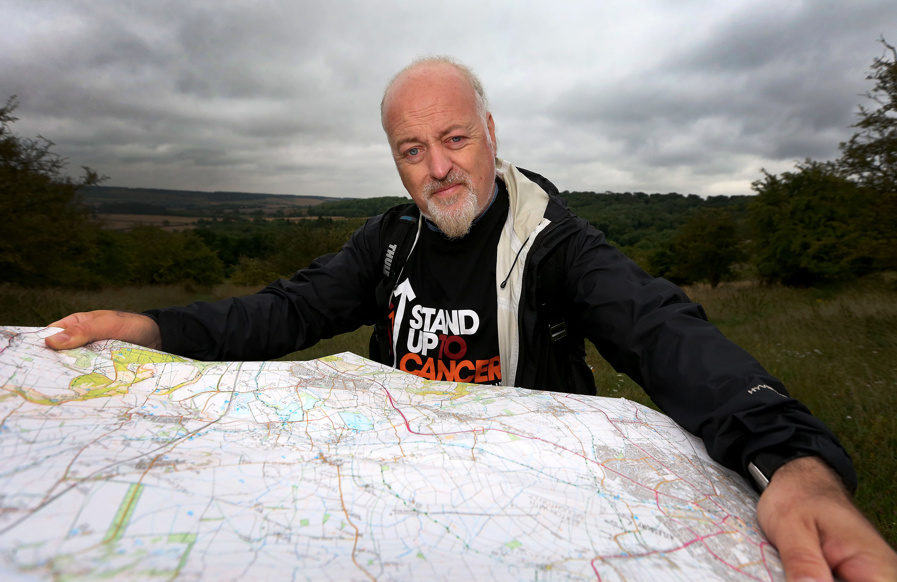 "Bill Bailey who has begun a 100-mile cancer fundraising walk along Britain's ""oldest road"" in memory of his late nurse mother. (SNAP/Cancer Research UK/PA Wire)"