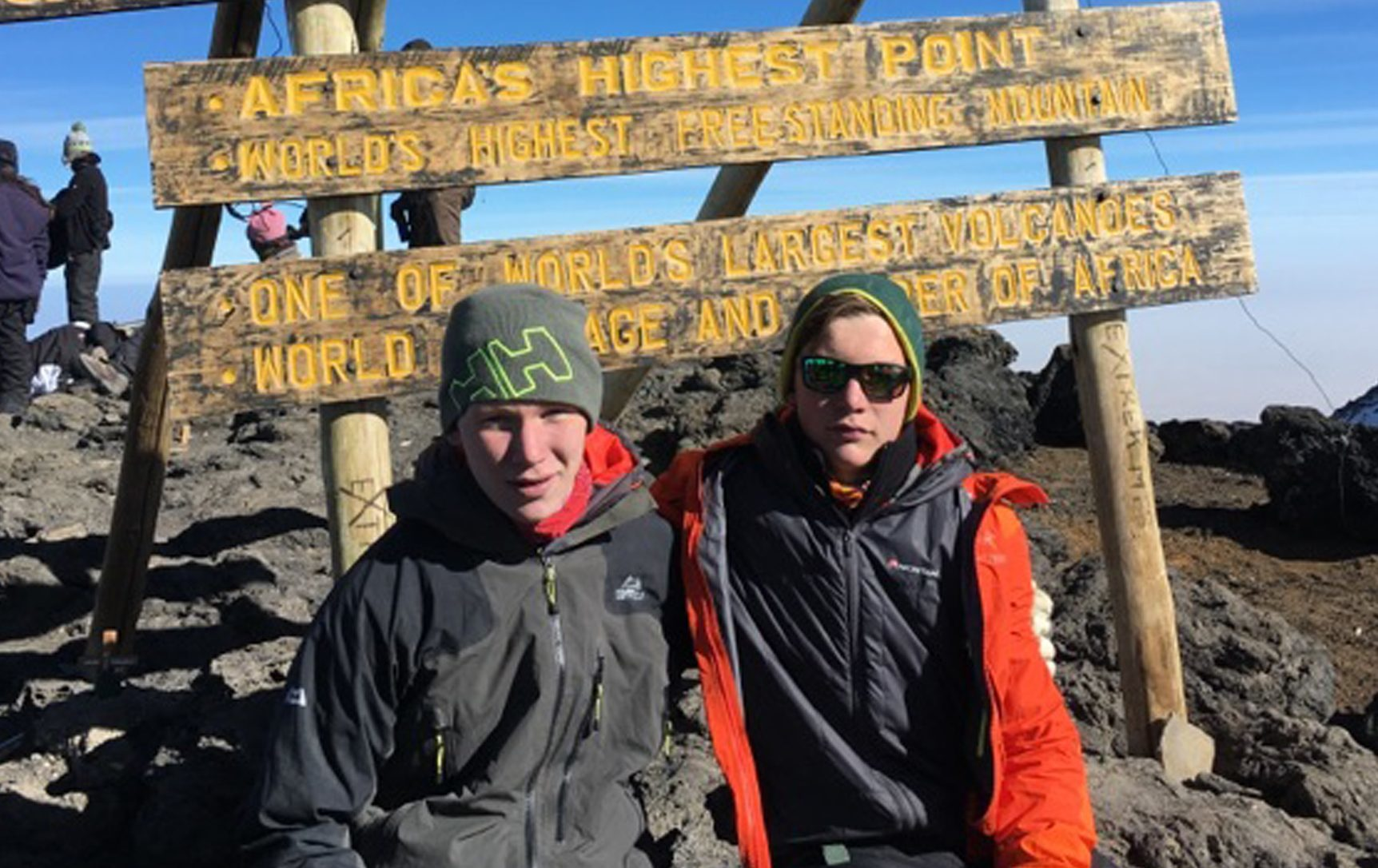 Brothers Harvey Dick-Reid (left), 17, and Archie Dick-Reid, 14, on top of Mount Kilimanjaro, which they climbed to raise money for PLan B charity, set up in memory of kayaker Dominic Jackson who died in February. (Archie Dick-Reid/PA Wire)