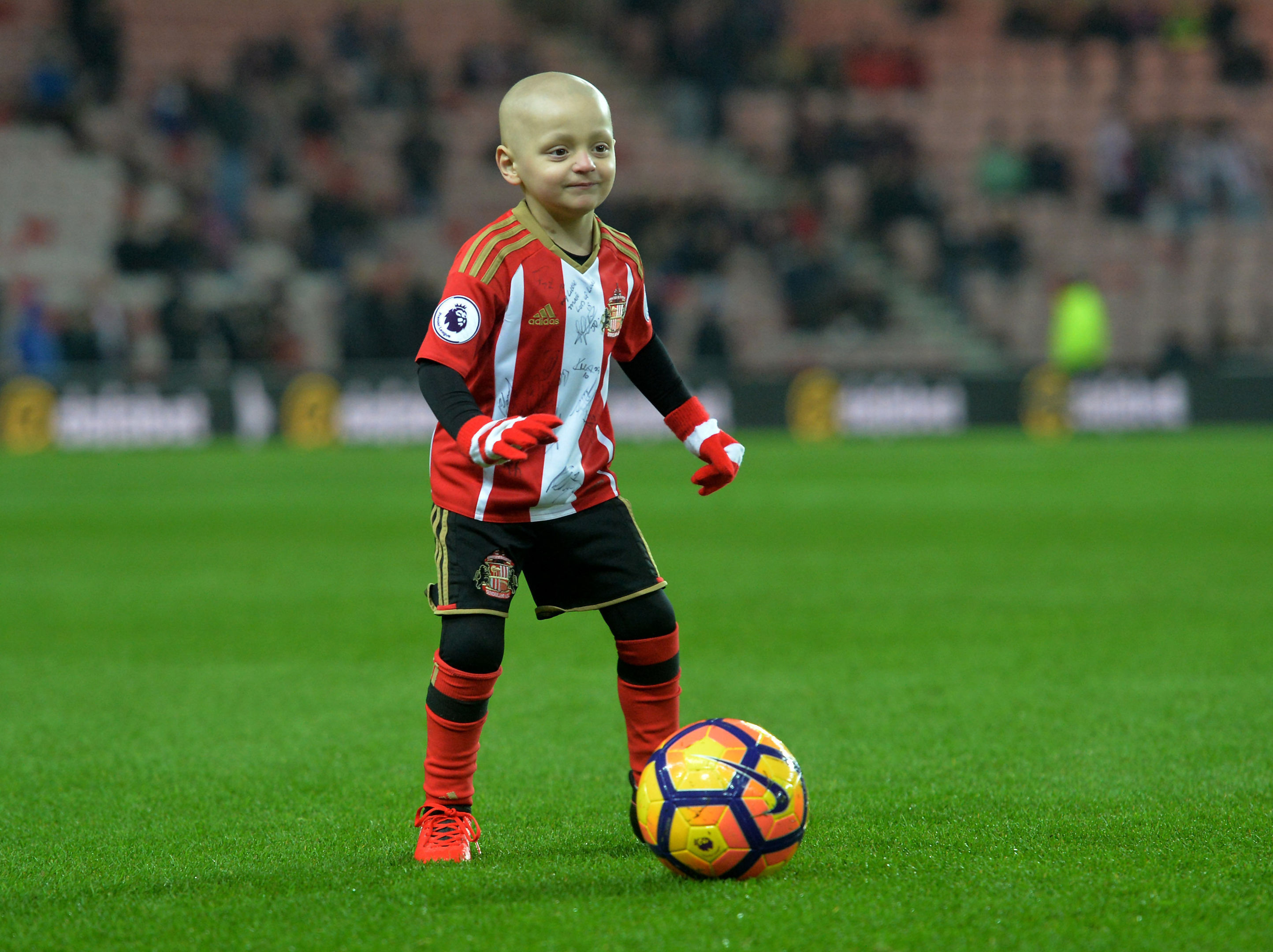 Bradley Lowery, the six-year-old football mascot who touched the nation's heart with his battle against the childhood cancer neuroblastoma, has died, his family said. (Anna Gowthorpe/PA Wire)