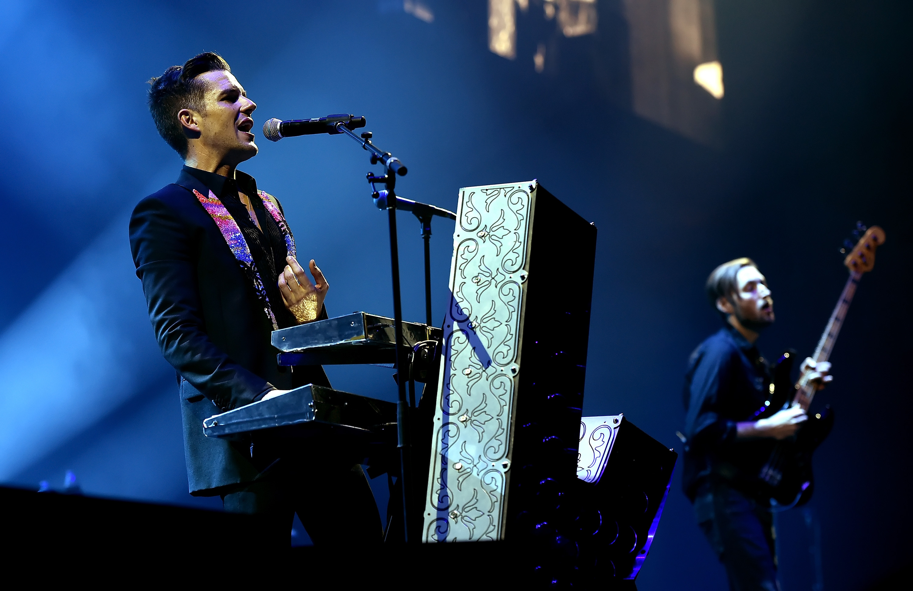 Brandon Flowers (L) and Mark Stoermer of The Killers  (Kevin Winter/Getty Images for ABA)