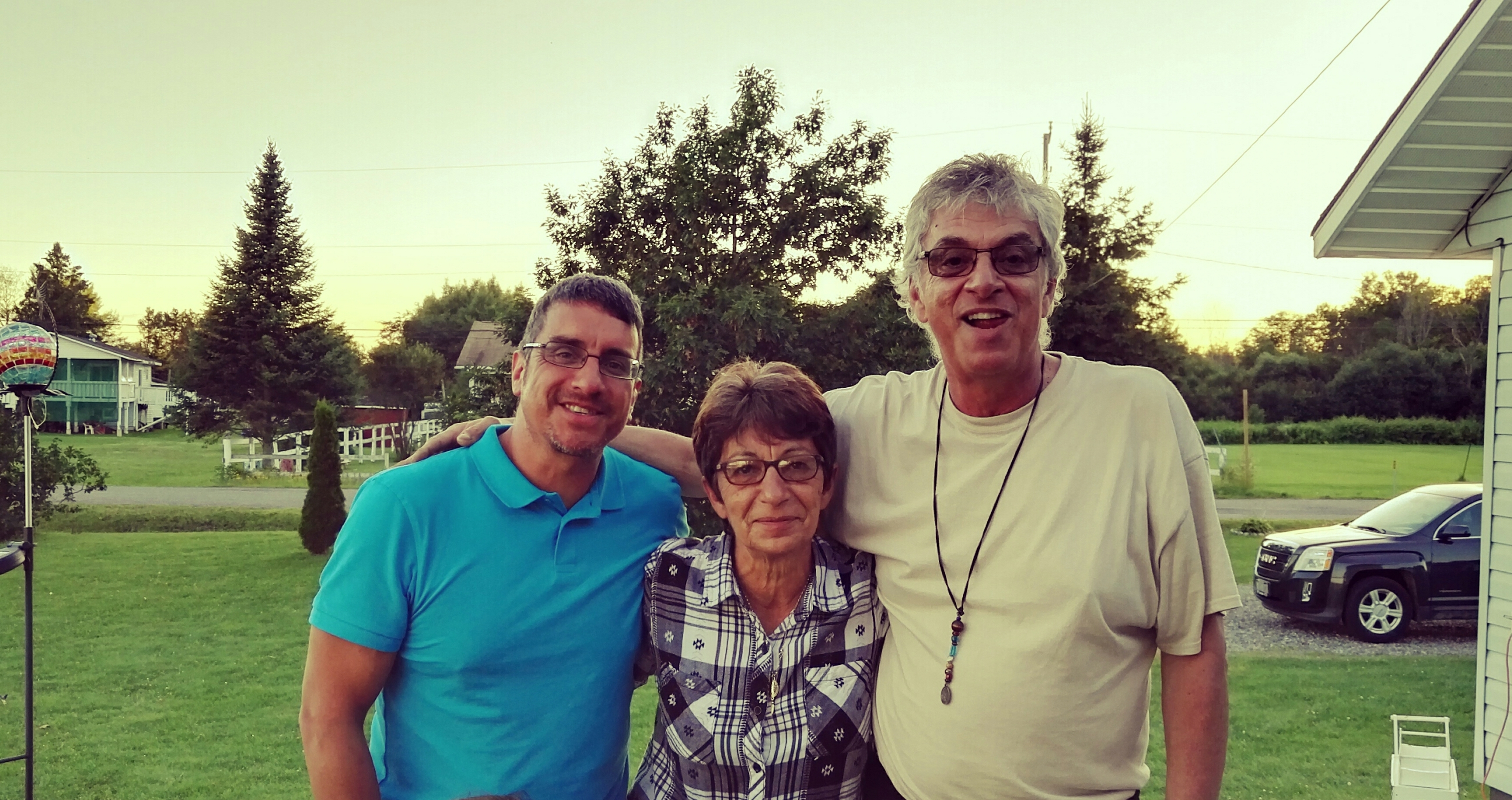 Daniel Black, far left, meets sister Kathy and brother Chris for the first time
