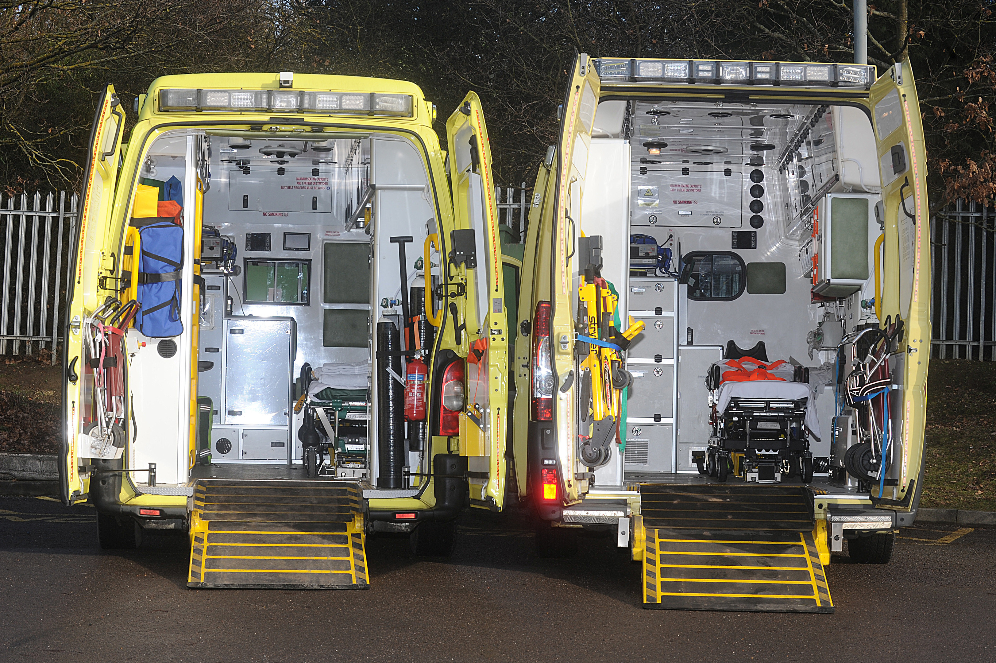 Obesity is forcing ambulance bosses to revamp their fleets to cope fixing double-width stretchers capable of carrying 40 stone patients (ADAM HARNETT / CATERS)