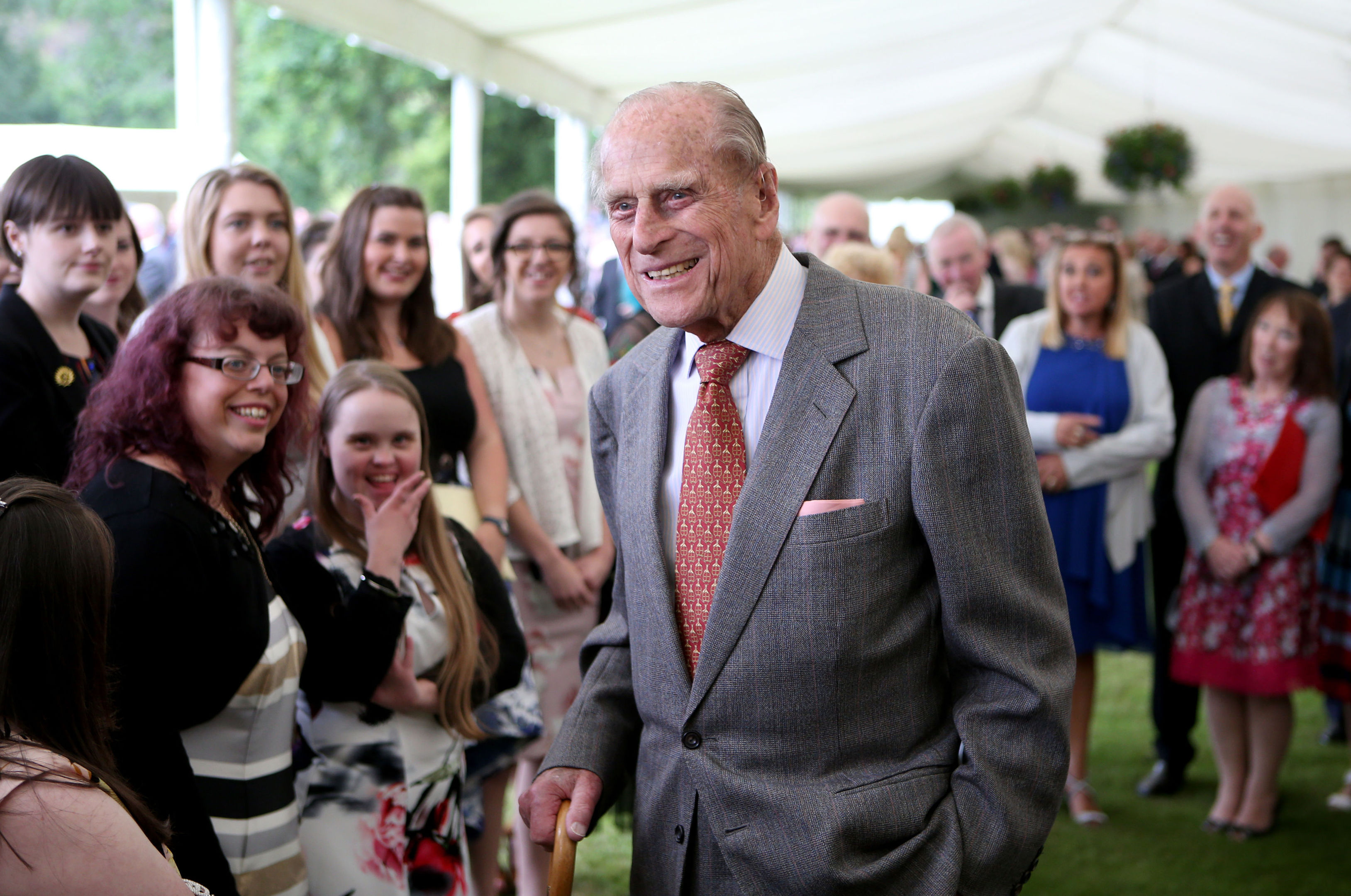 The Duke of Edinburgh attends the Presentation Reception for The Duke of Edinburgh Gold Award holders in the gardens at the Palace of Holyroodhouse in Edinburgh. (Jane Barlow/PA Wire)
