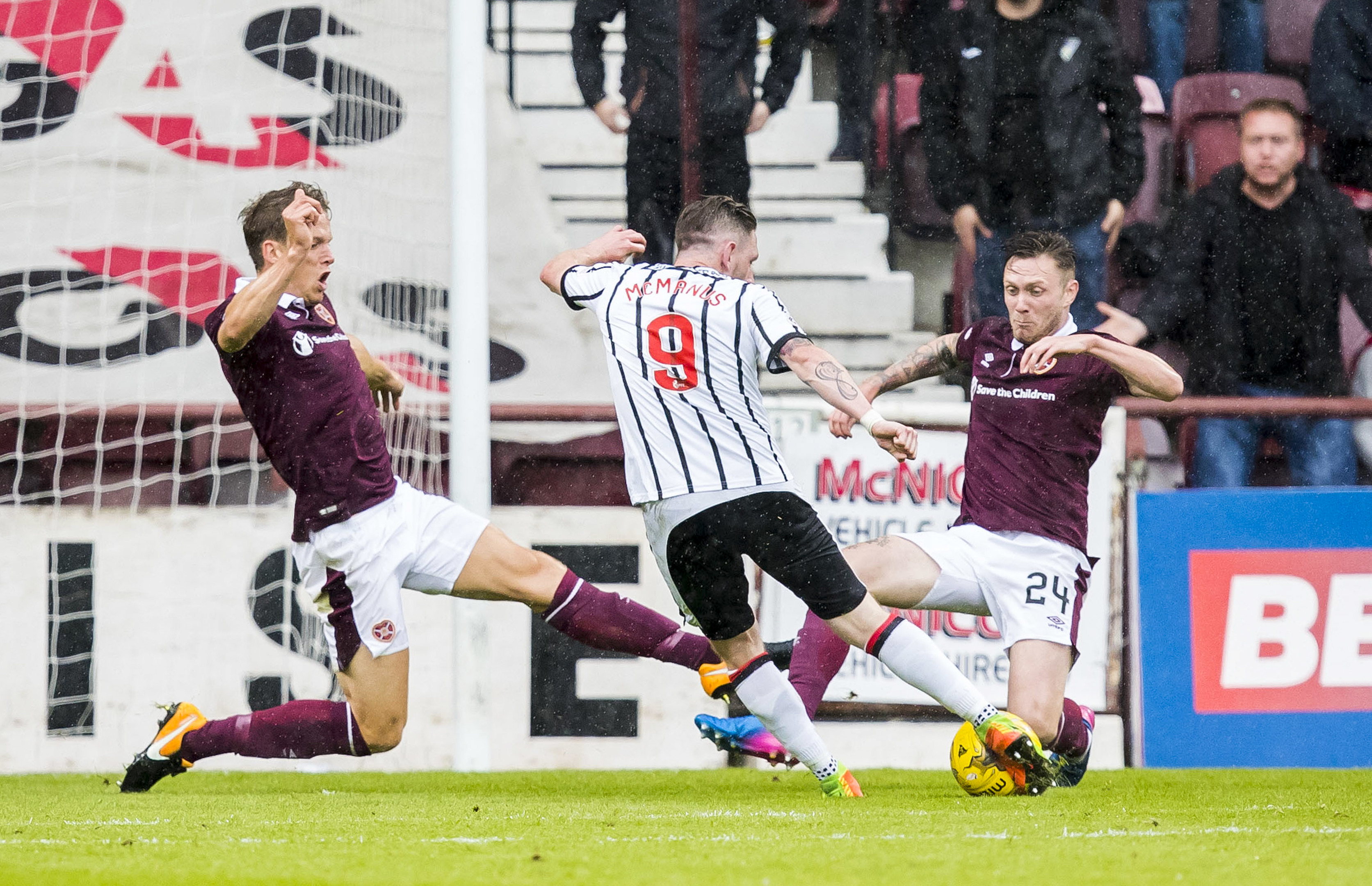 Dunfermline's Declan McManus (centre) scores his side's second goal (SNS)