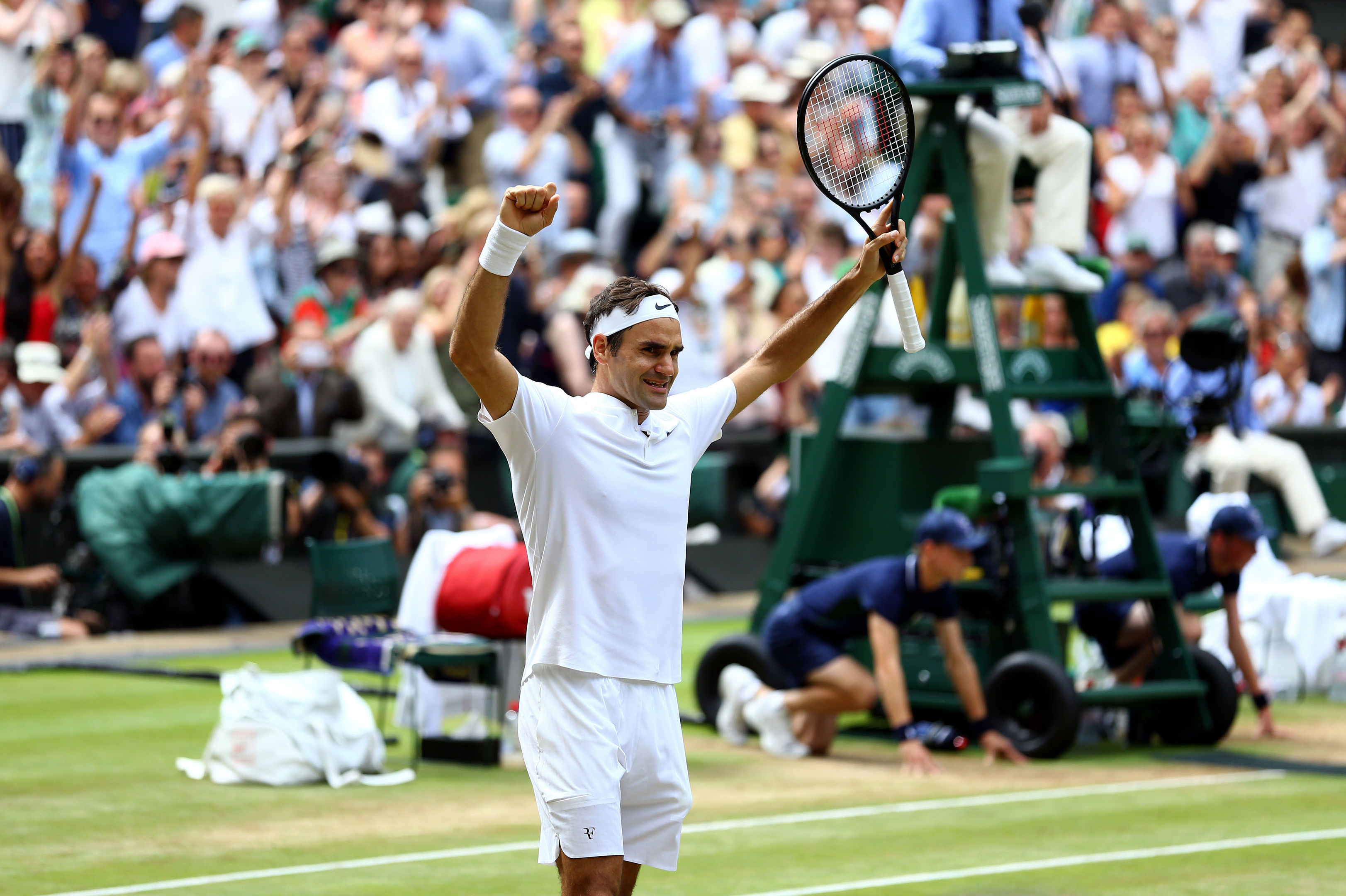 Roger Federer celebrates beating Marin Cilic (Gareth Fuller/PA Wire)