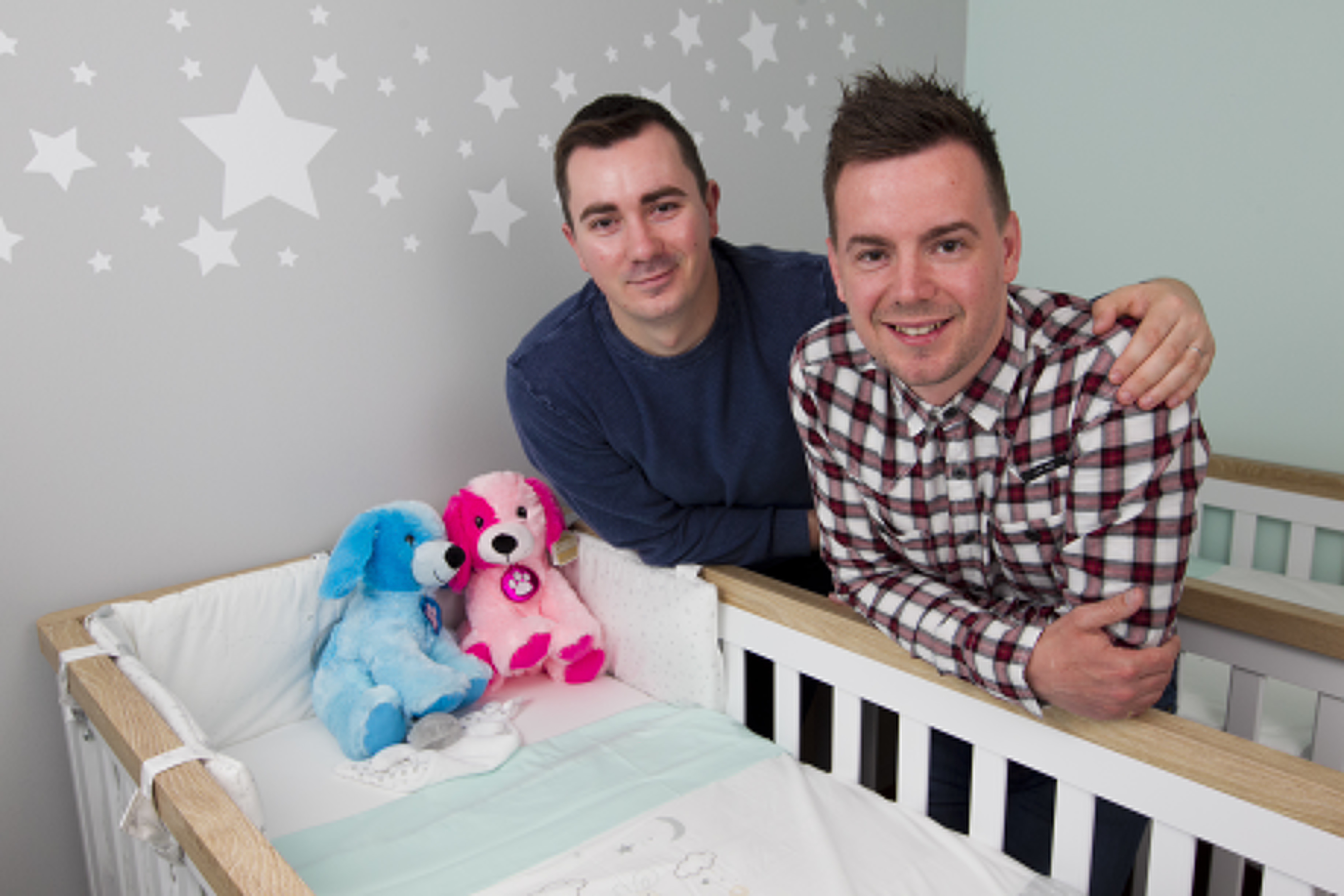 Ryan Walker (tartan shirt) and Chris Watson (blue jumper), who are to be the first gay couple in Scotland to have twin babies via a surrogate mother through fertility clinic, GCRM. (Andrew Cawley, DC Thomson)