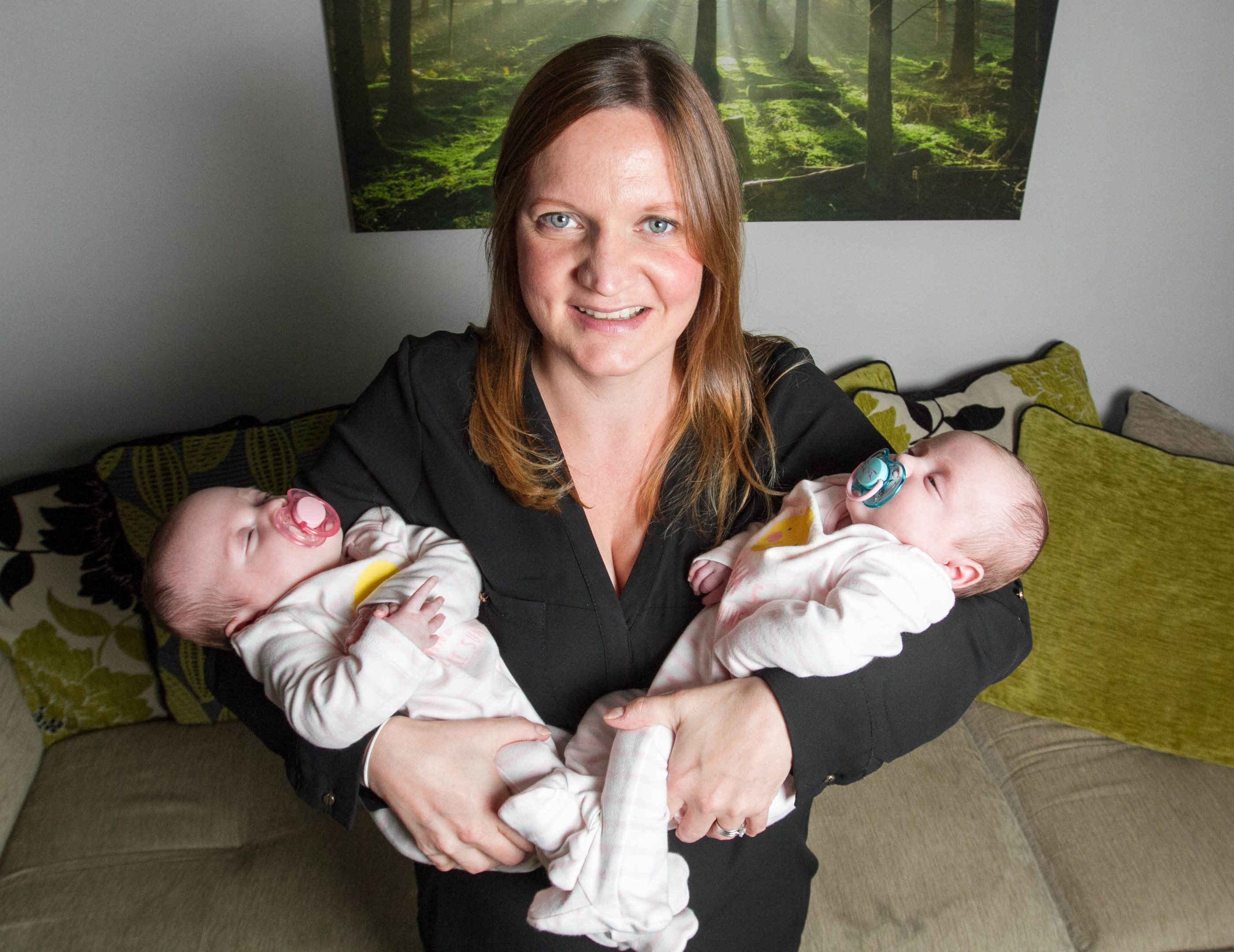 Catherine Hynland with newborn twins Lottie and Zara Hynland. The twin girls aged seven weeks survived meningitis at just 17 days old. (Sunday Post)
