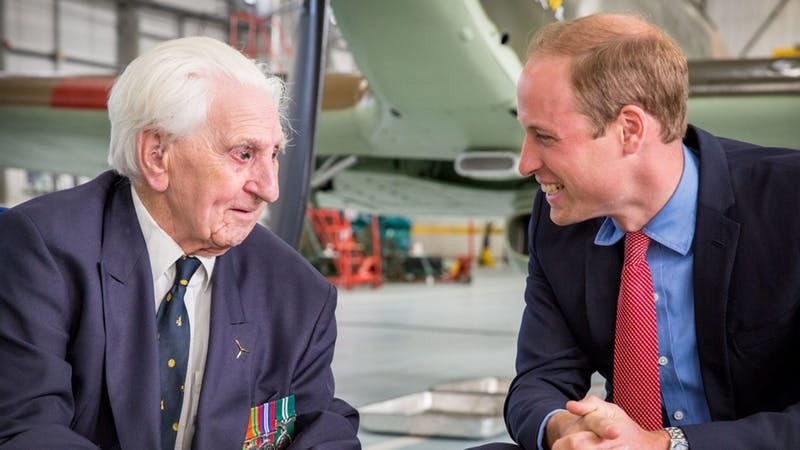 Spitfire pilot Ken Wilkinson chats to Prince William - with who he once shared a 'dirty story'
