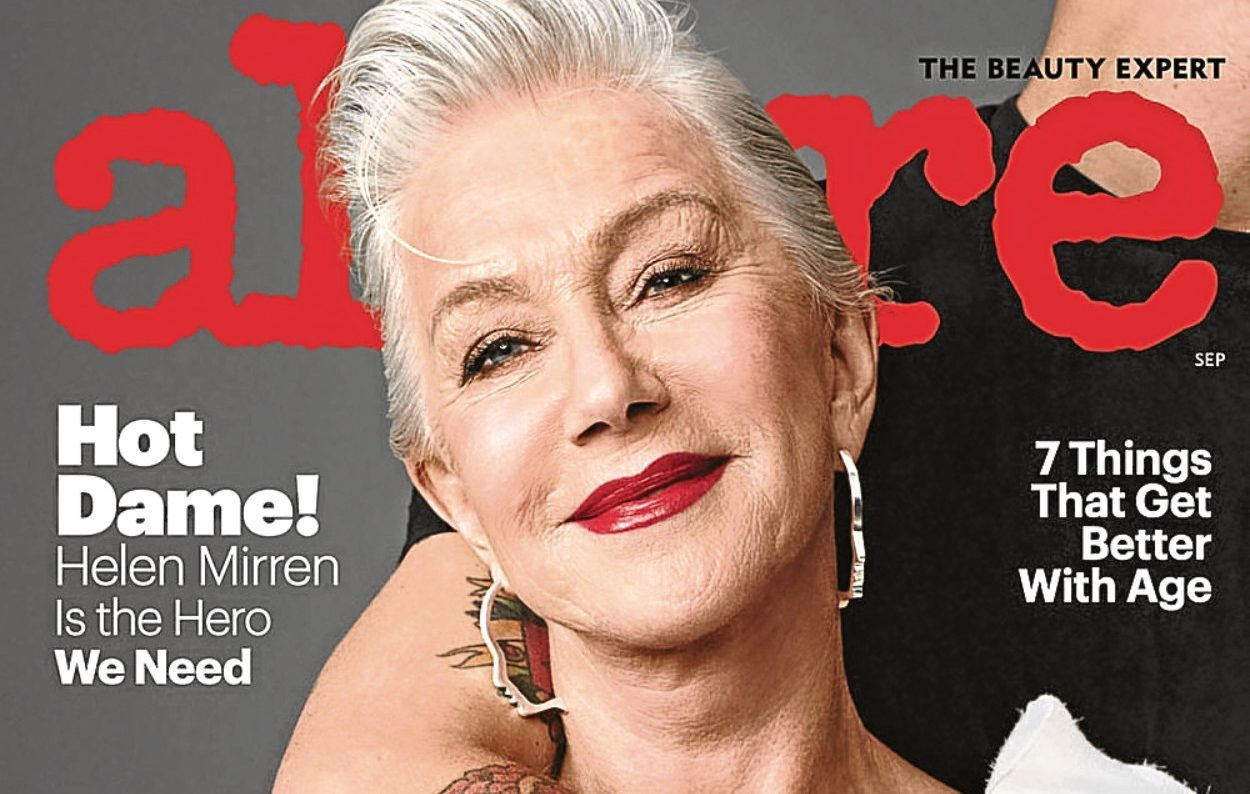 Helen Mirren on Alure's end of anti-aging issue