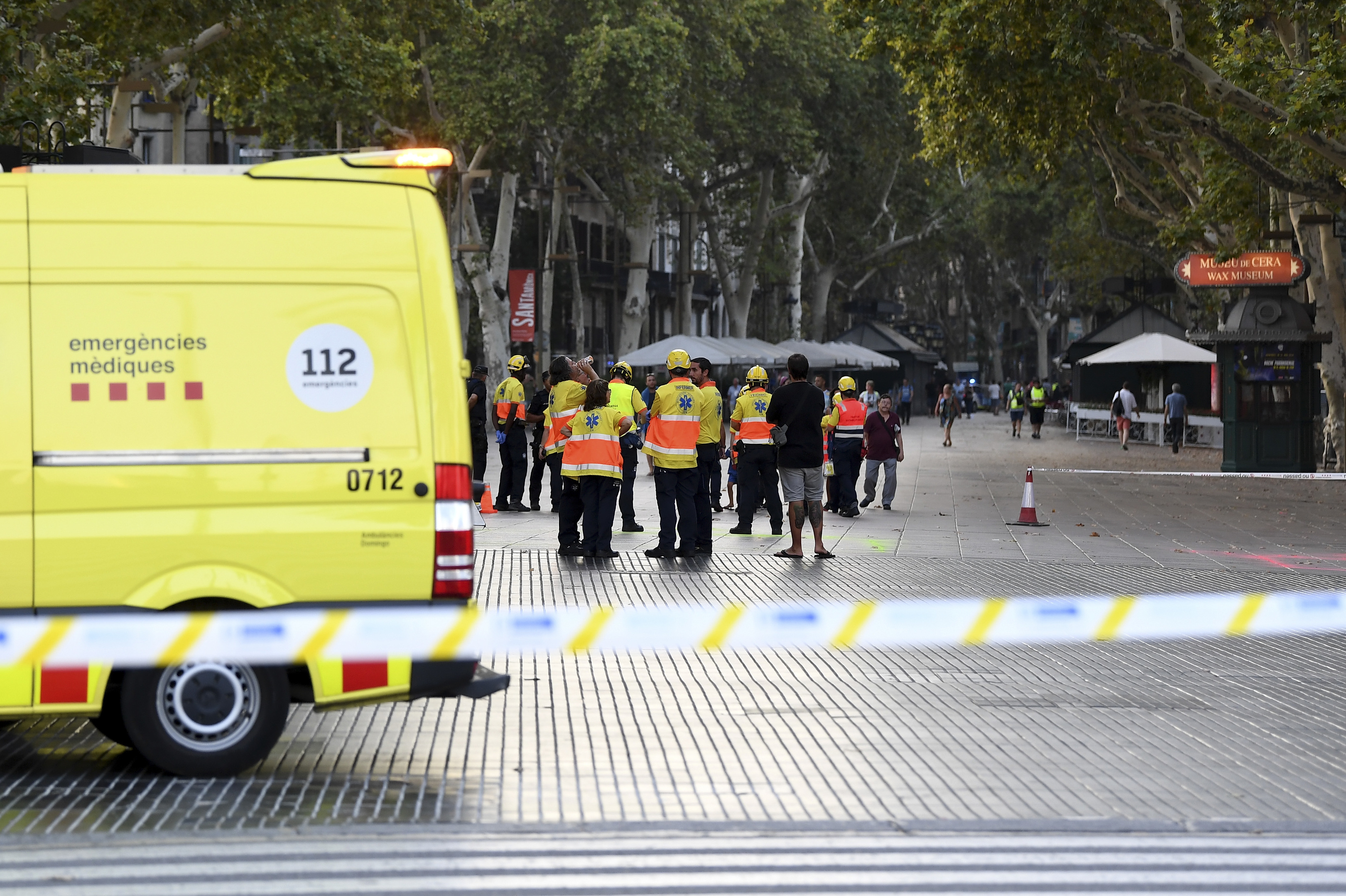 A general view of paramedics at the scene of a terrorist attack in the Las Ramblas area on August 17, 2017 in Barcelona, Spain. (David Ramos/Getty Images)