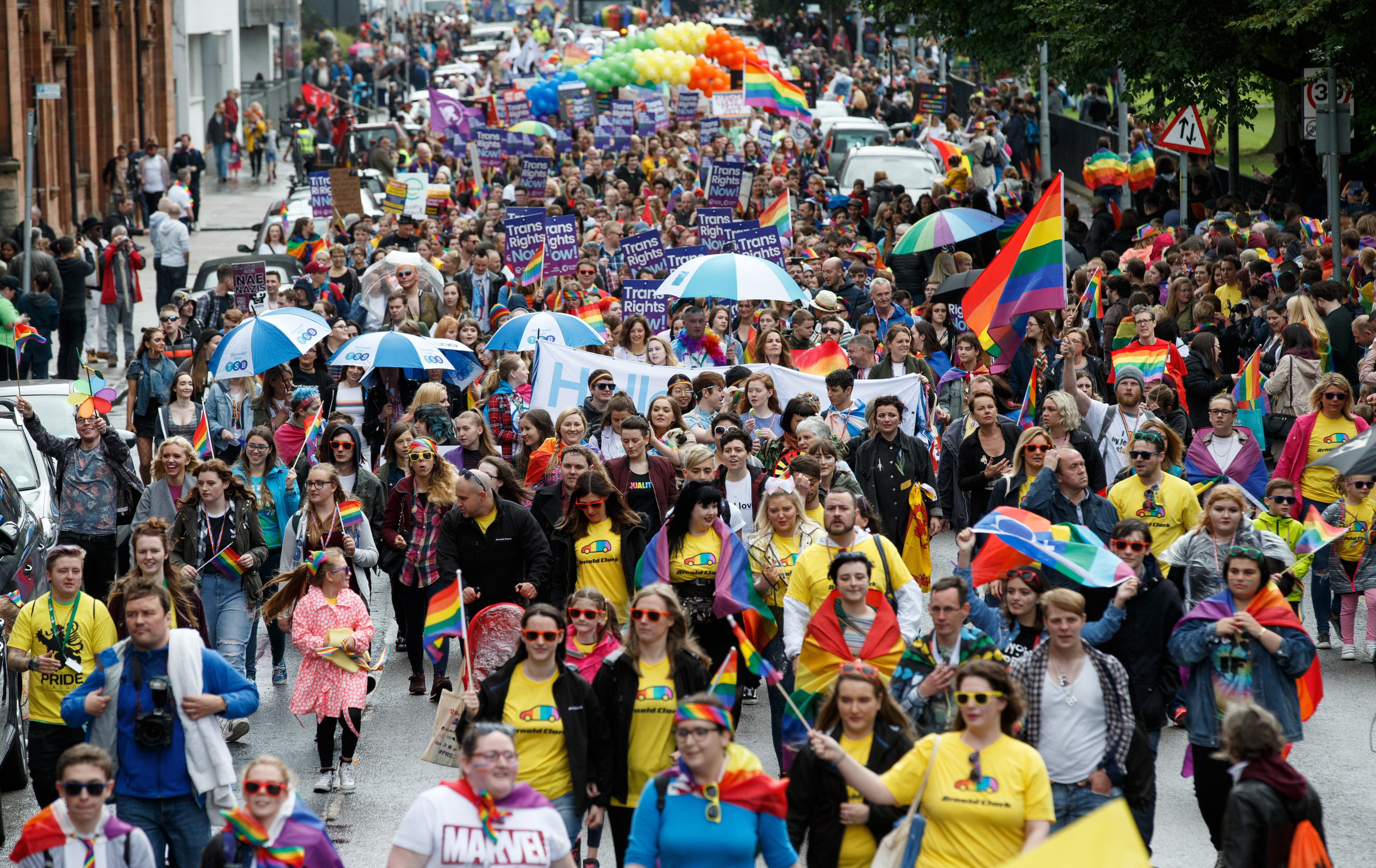 Thousands of people take part in the Glasgow Pride march earlier this year (Robert Perry/Getty Images)