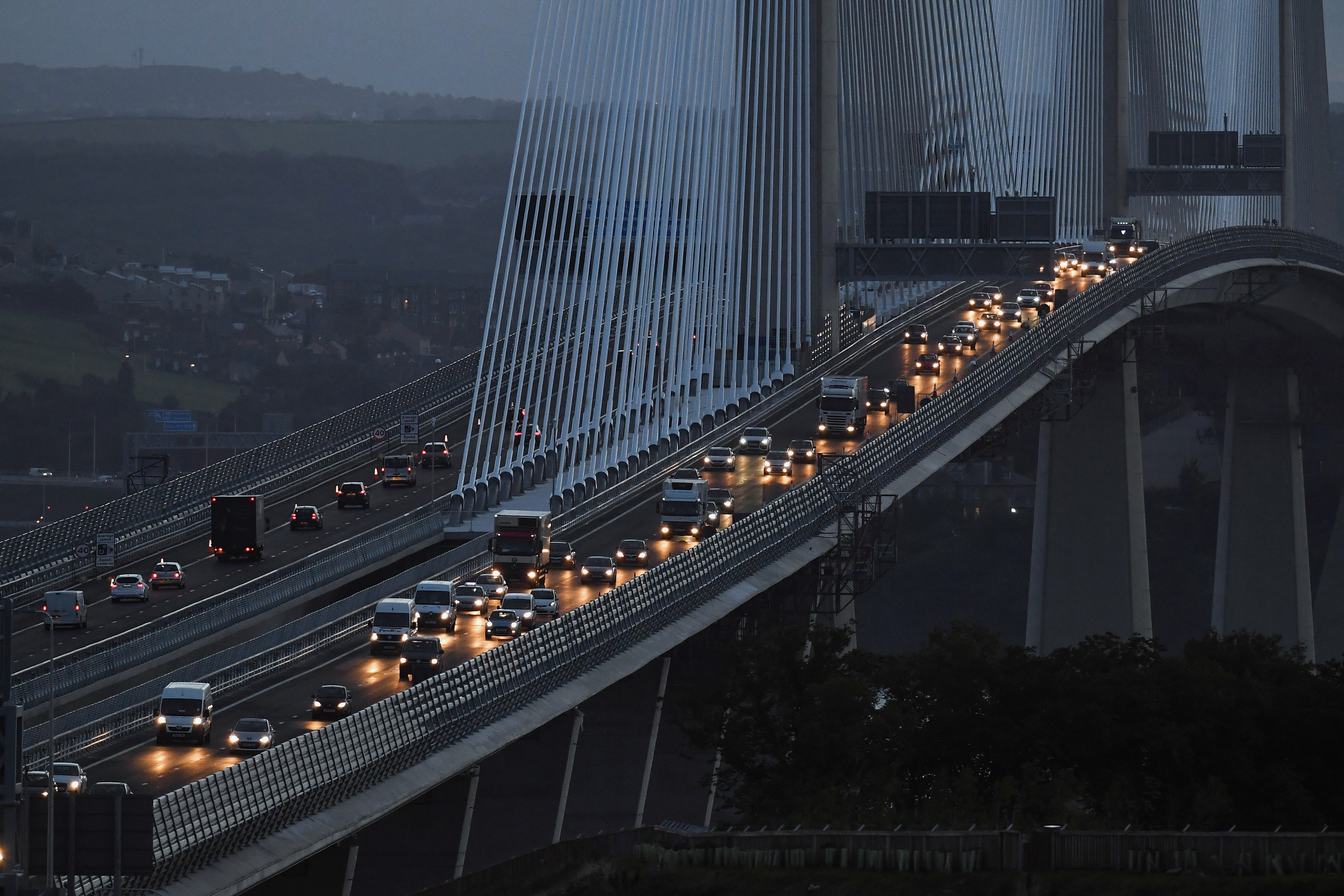 Morning traffic crosses the new Queensferry Crossing  (Jeff J Mitchell/Getty Images)