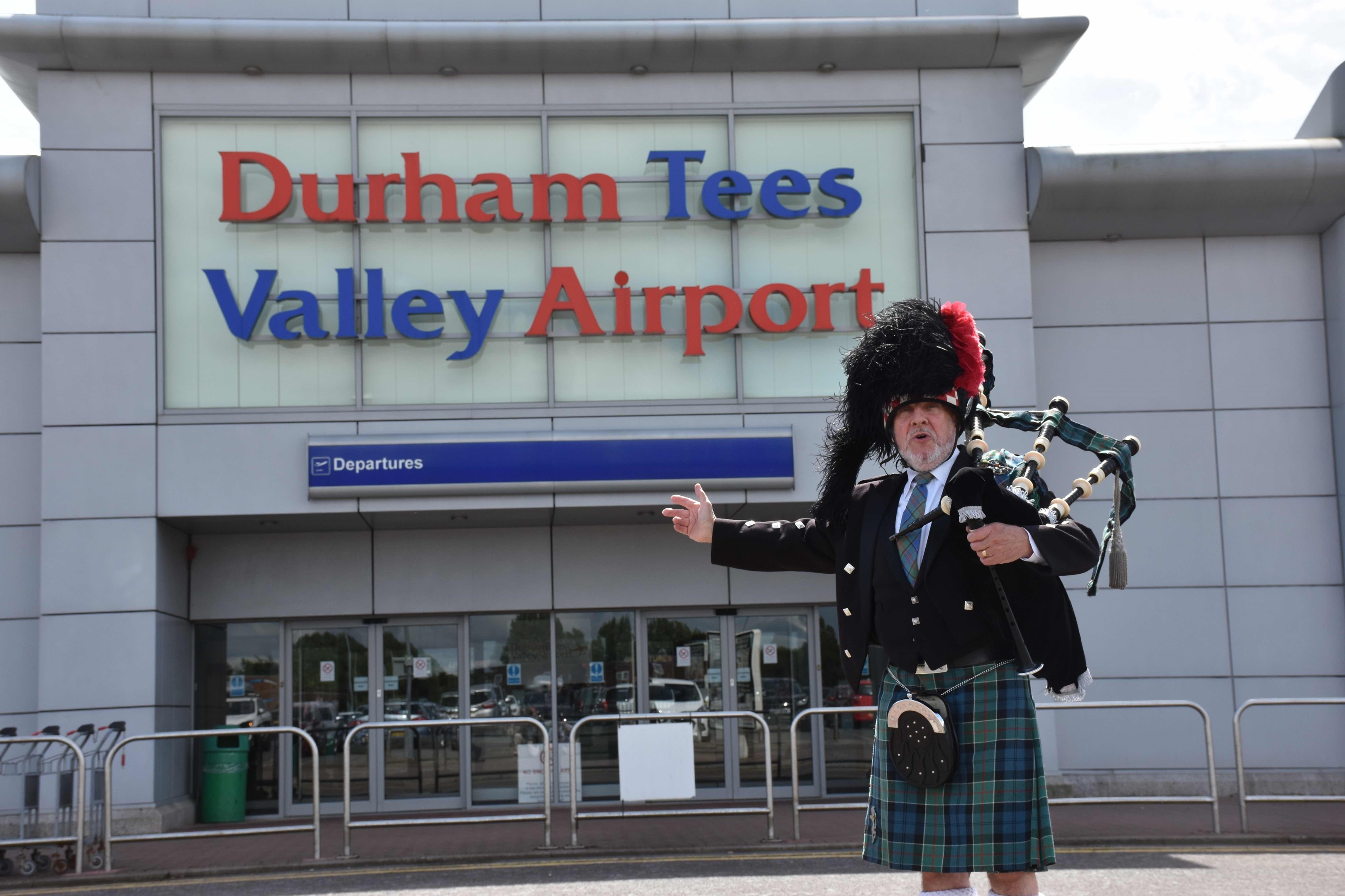 Derek Millmoor was booked to play for logan Air at Tees valley Airport, but security would not let him onto the tarmac, and he had to play outside the airport