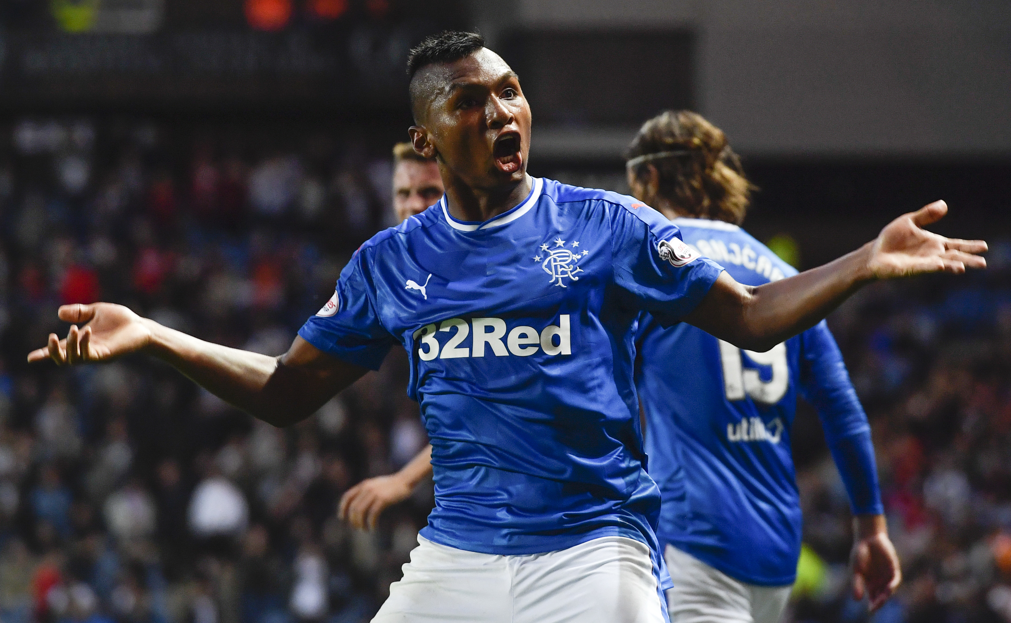 Rangers' Alfredo Morelos celebrates after scoring his side's sixth goal (SNS Group)