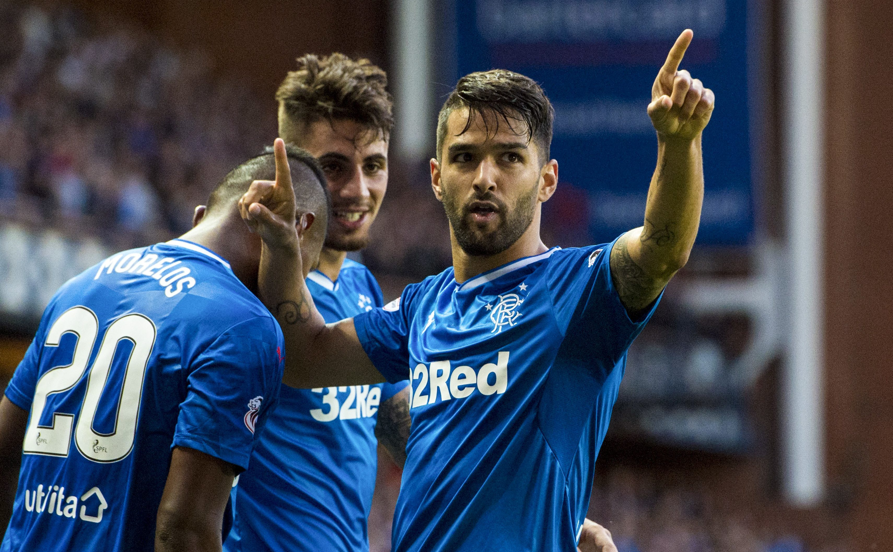 Rangers' Daniel Candeias celebrates his goal (SNS Group / Paul Devlin)
