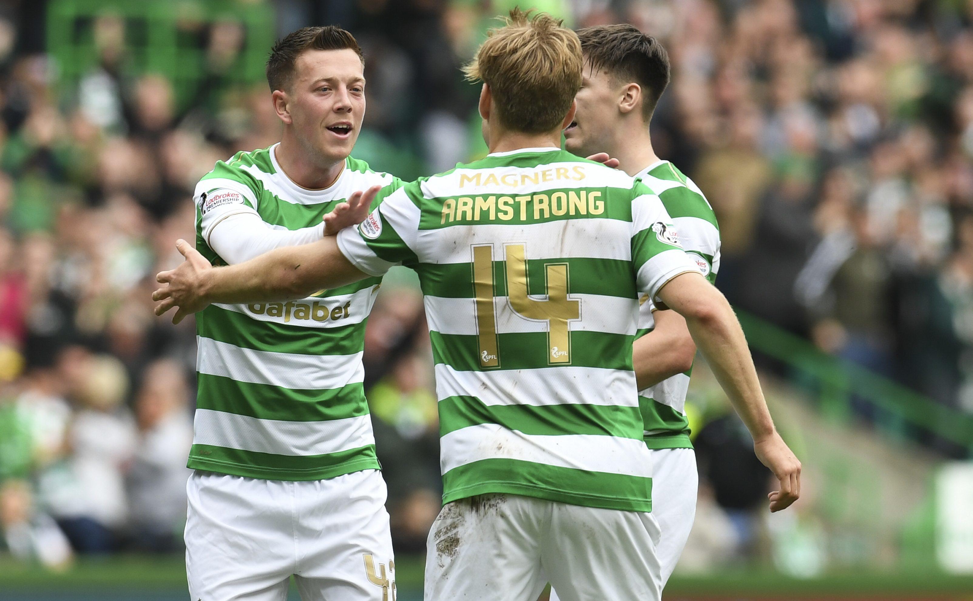 Celtic's Callum McGregor (left) celebrates his goal with team-mate Stuart Armstrong (SNS)