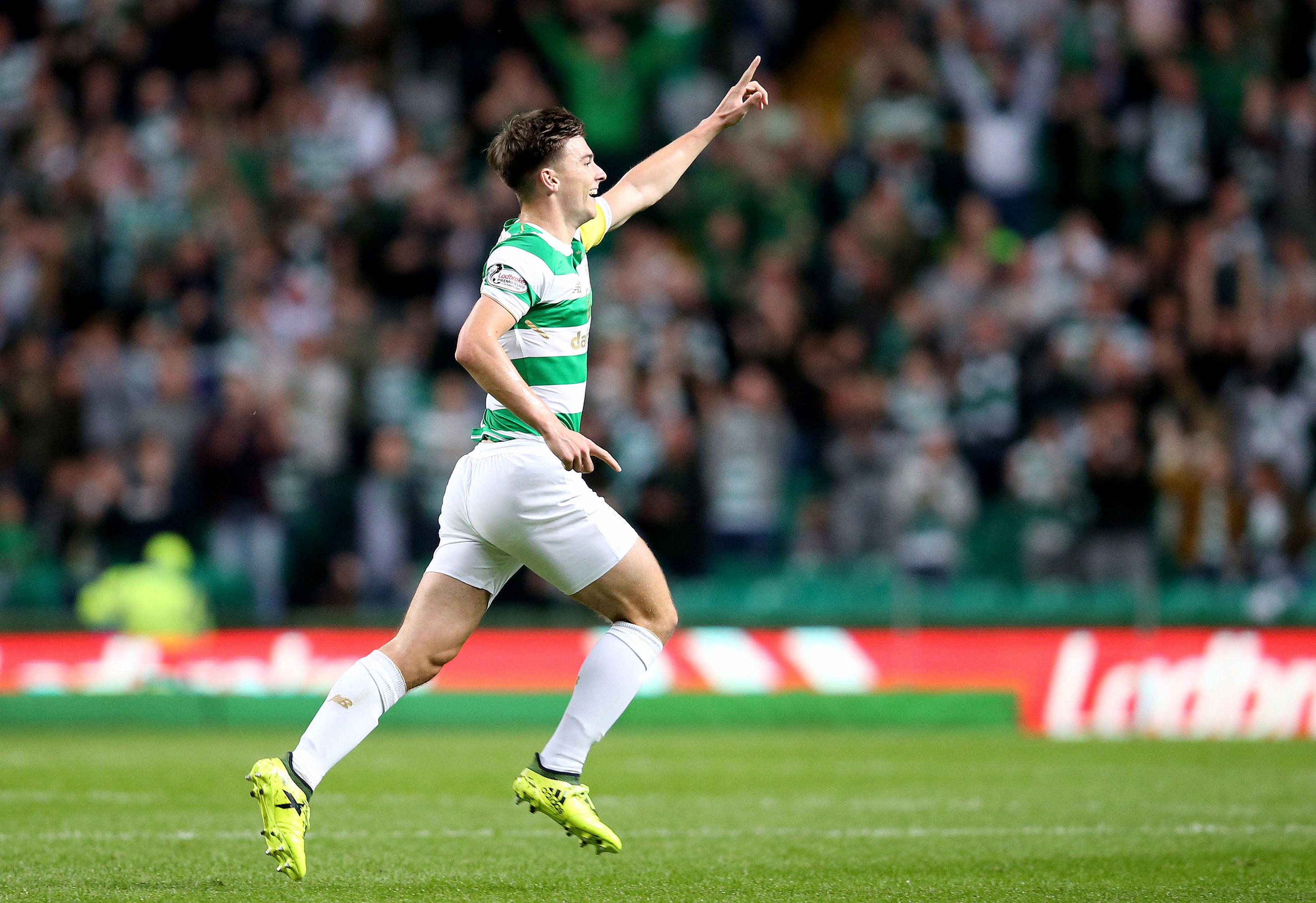 Celtic's Kieran Tierney celebrates scoring (Jane Barlow/PA Wire)