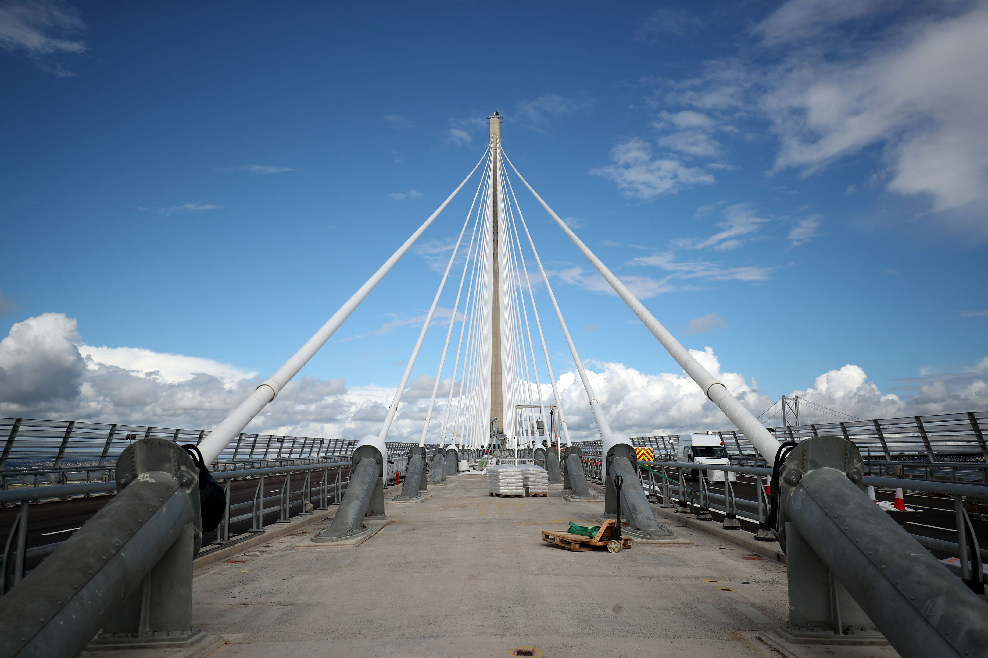 Final works are carried out on the Queensferry Crossing, the new road bridge over the Firth of Forth, South Queensferry, ahead of the official opening by Queen Elizabeth II on September 4, 2017. (Jane Barlow/PA Wire)
