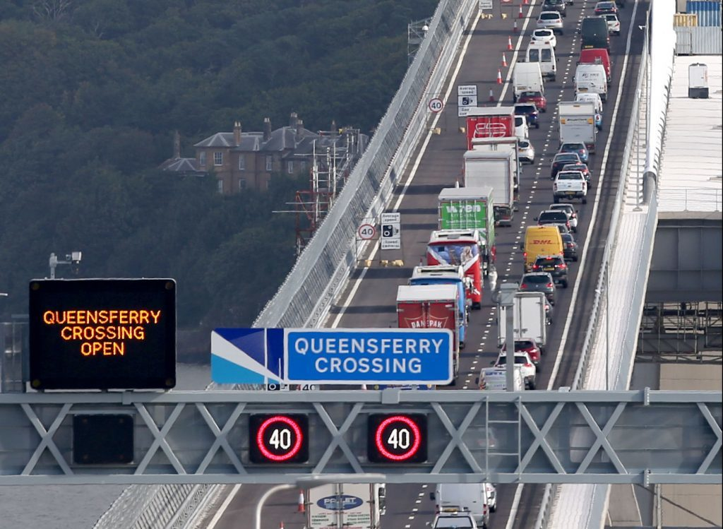 Traffic crosses the new Queensferry Crossing on the first day of operational use. (Jane Barlow/PA Wire)
